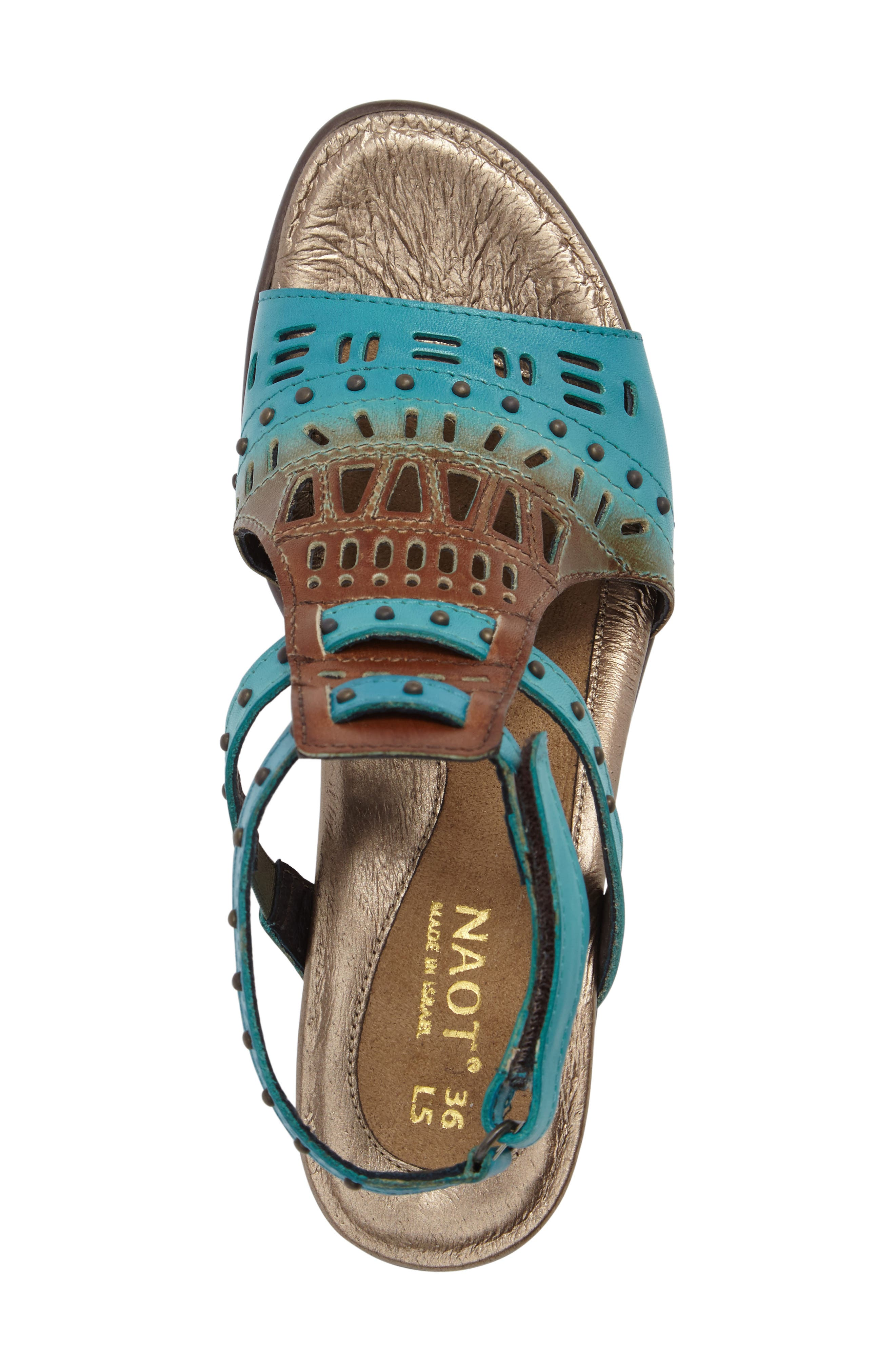 NAOT, 'Vogue' Sandal, Alternate thumbnail 5, color, TEAL BROWN LEATHER