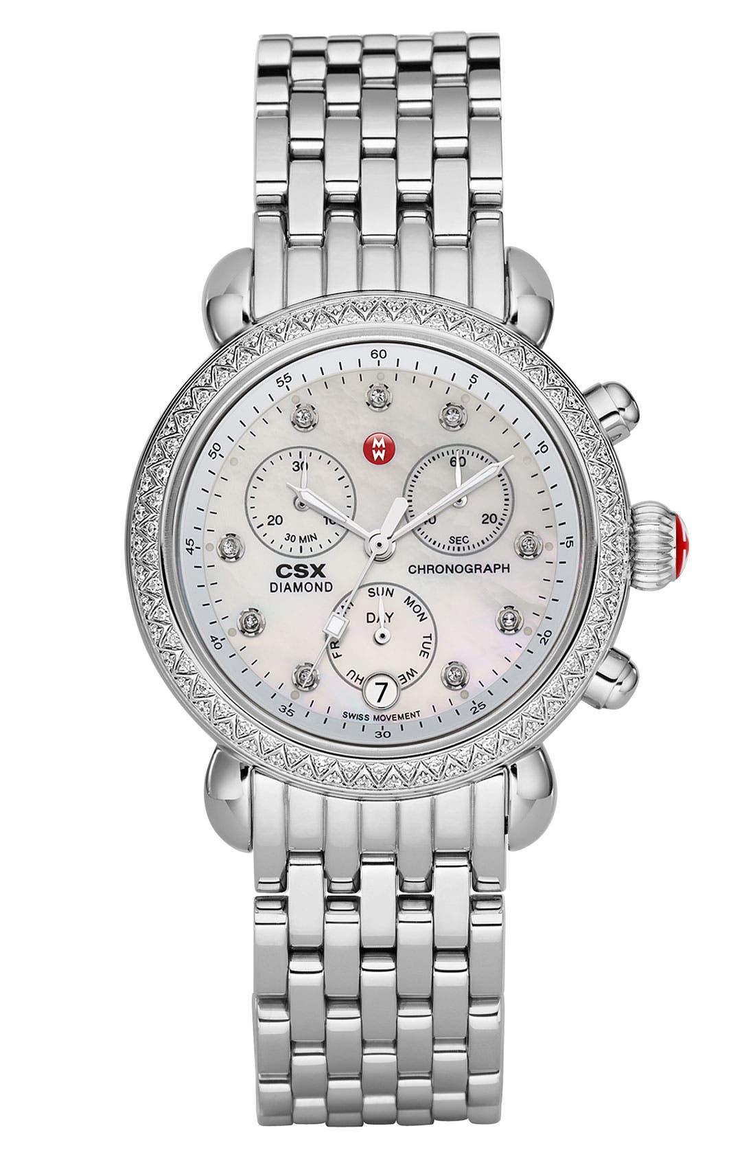 MICHELE, 'CSX-36 Diamond' Diamond Dial Two Tone Watch Case, 36mm, Alternate thumbnail 5, color, 040