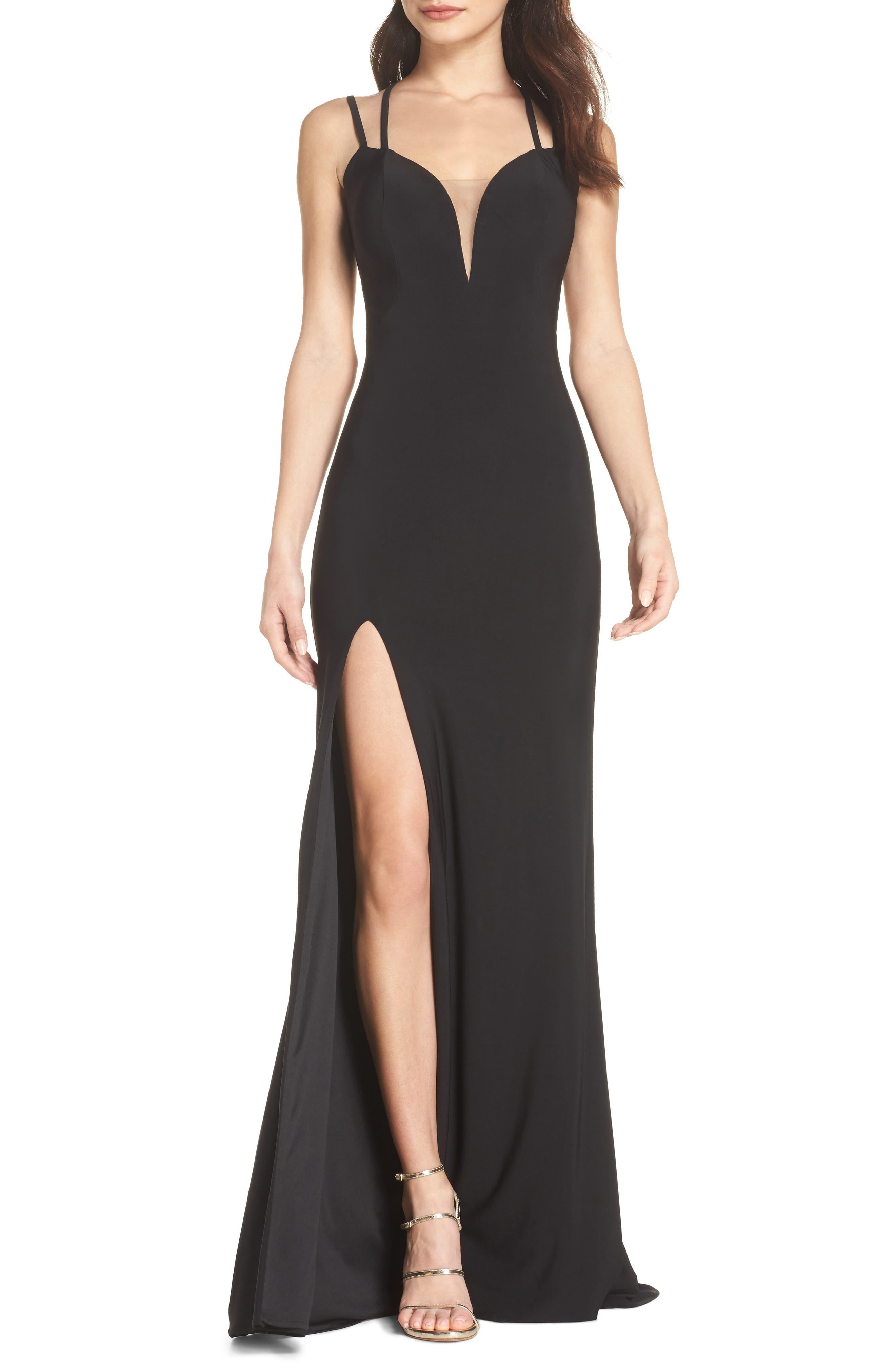 La Femme Open Back Jersey Gown, Black