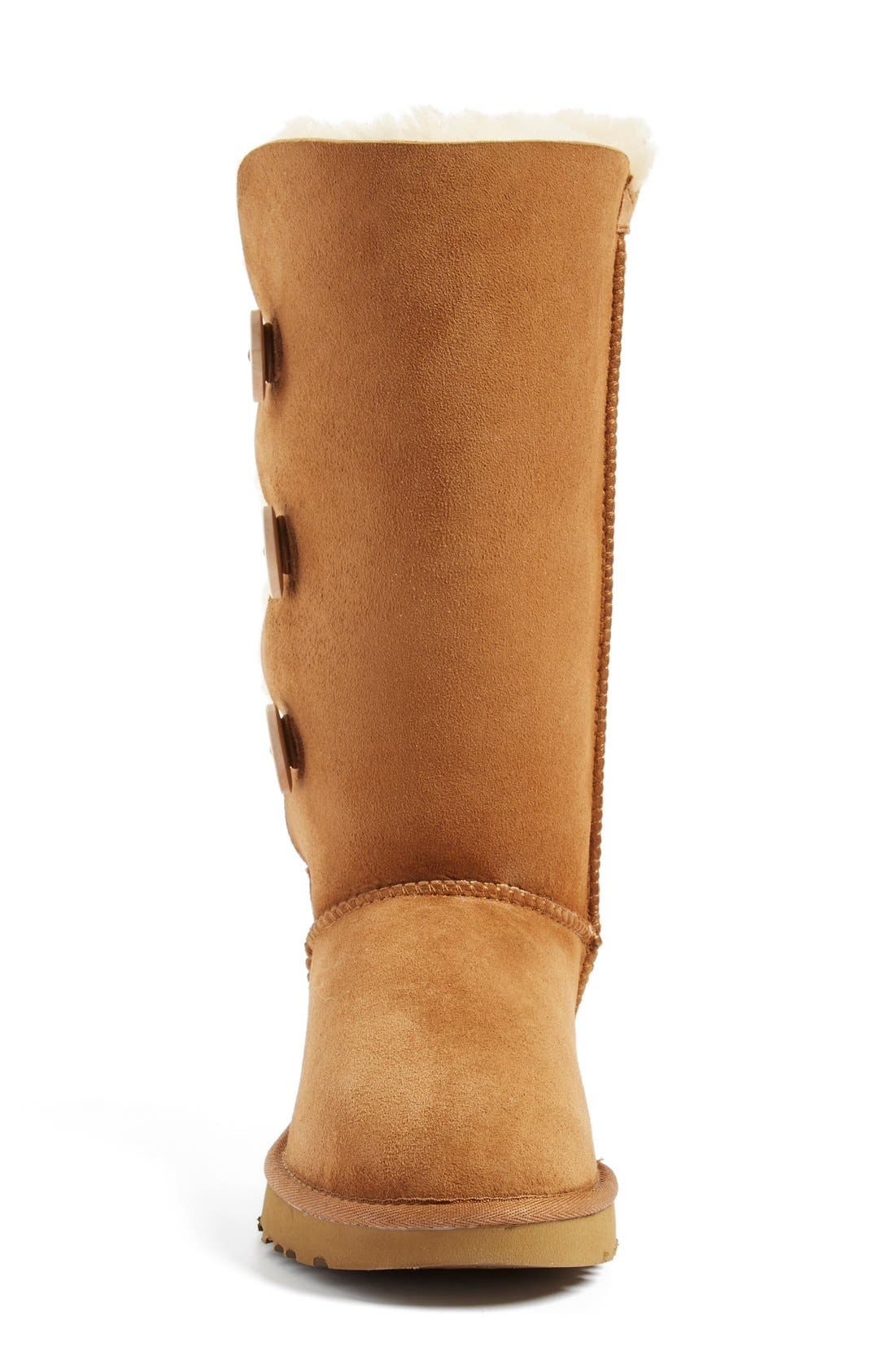 UGG<SUP>®</SUP>, Bailey Button Triplet II Genuine Shearling Boot, Alternate thumbnail 3, color, CHESTNUT SUEDE