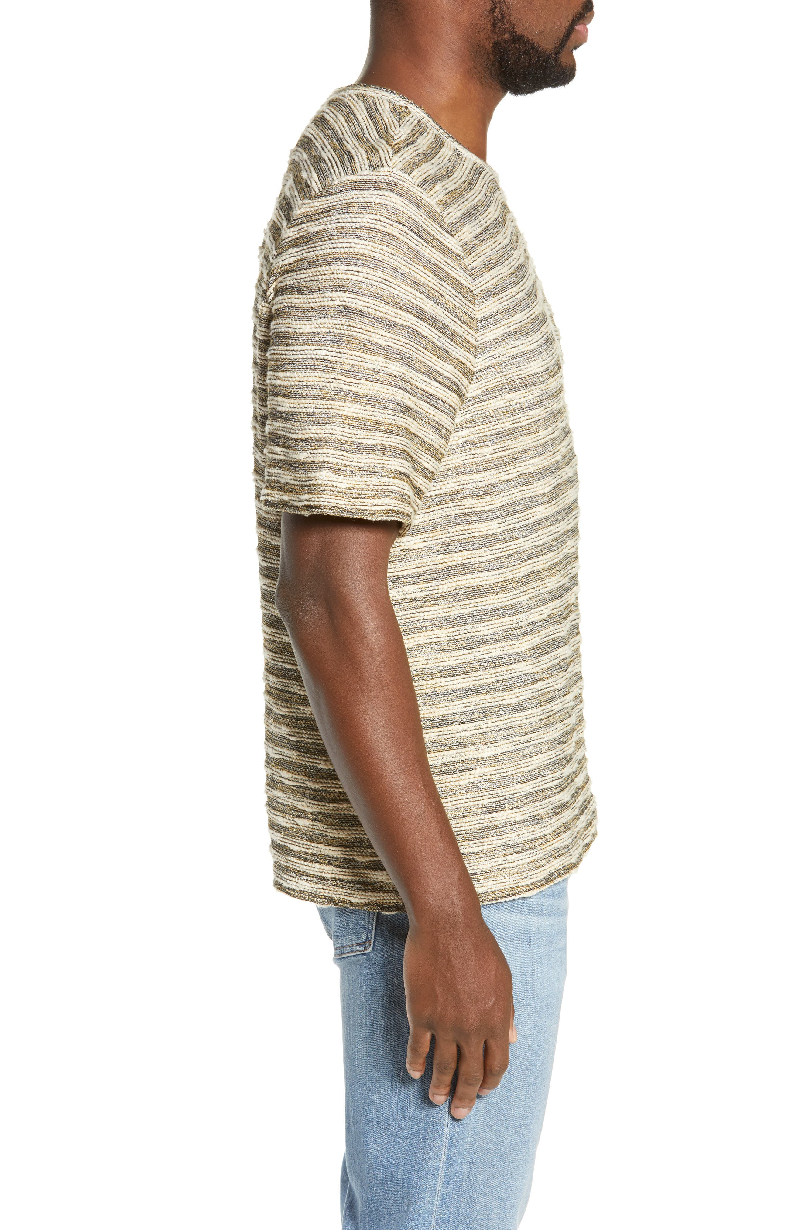 FRYE, Stripe Jacquard Regular Fit T-Shirt, Alternate thumbnail 3, color, WHITE