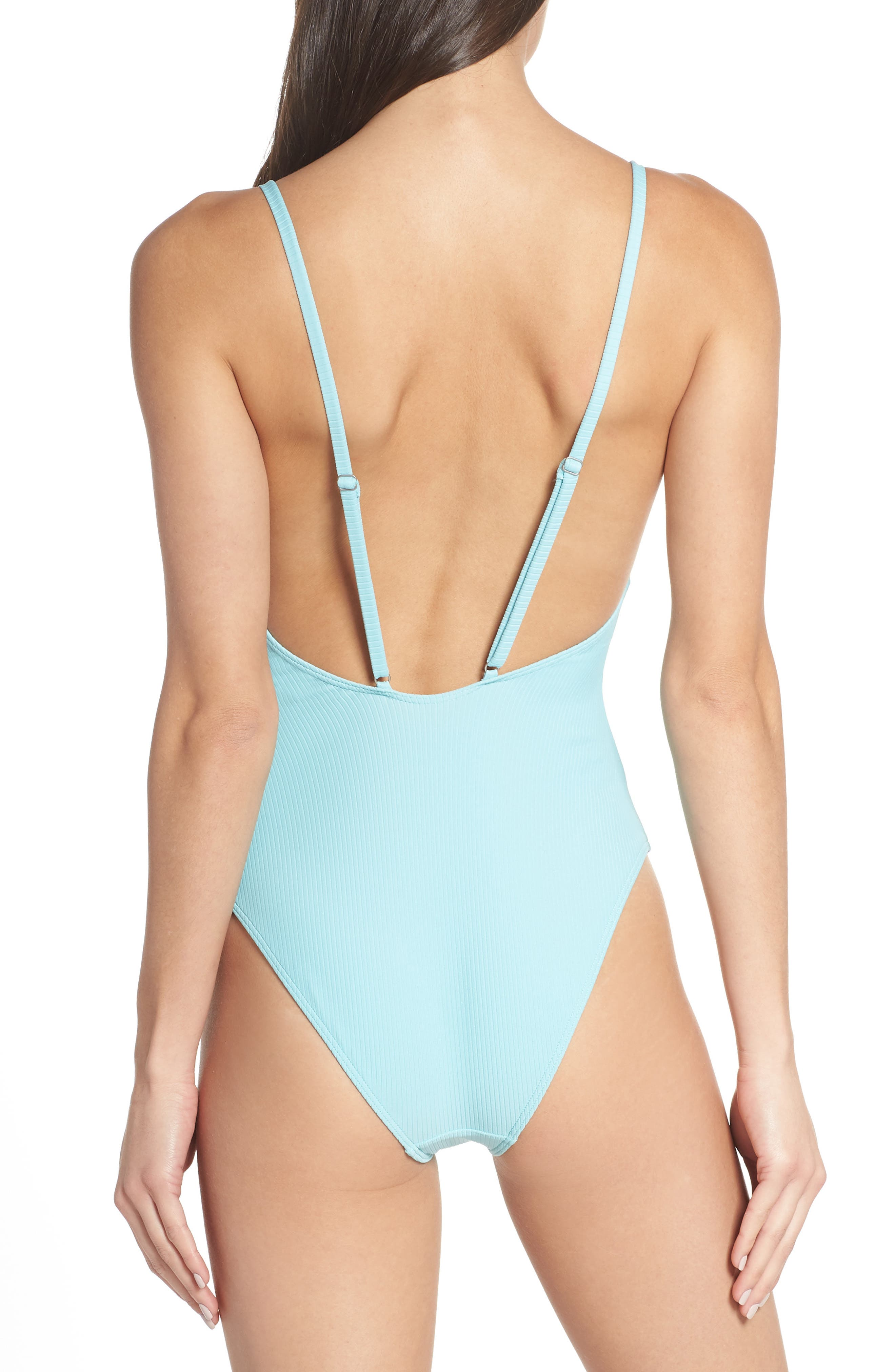 SOMETHING NAVY, Core Ribbed One-Piece Swimsuit, Alternate thumbnail 2, color, BLUE GULF