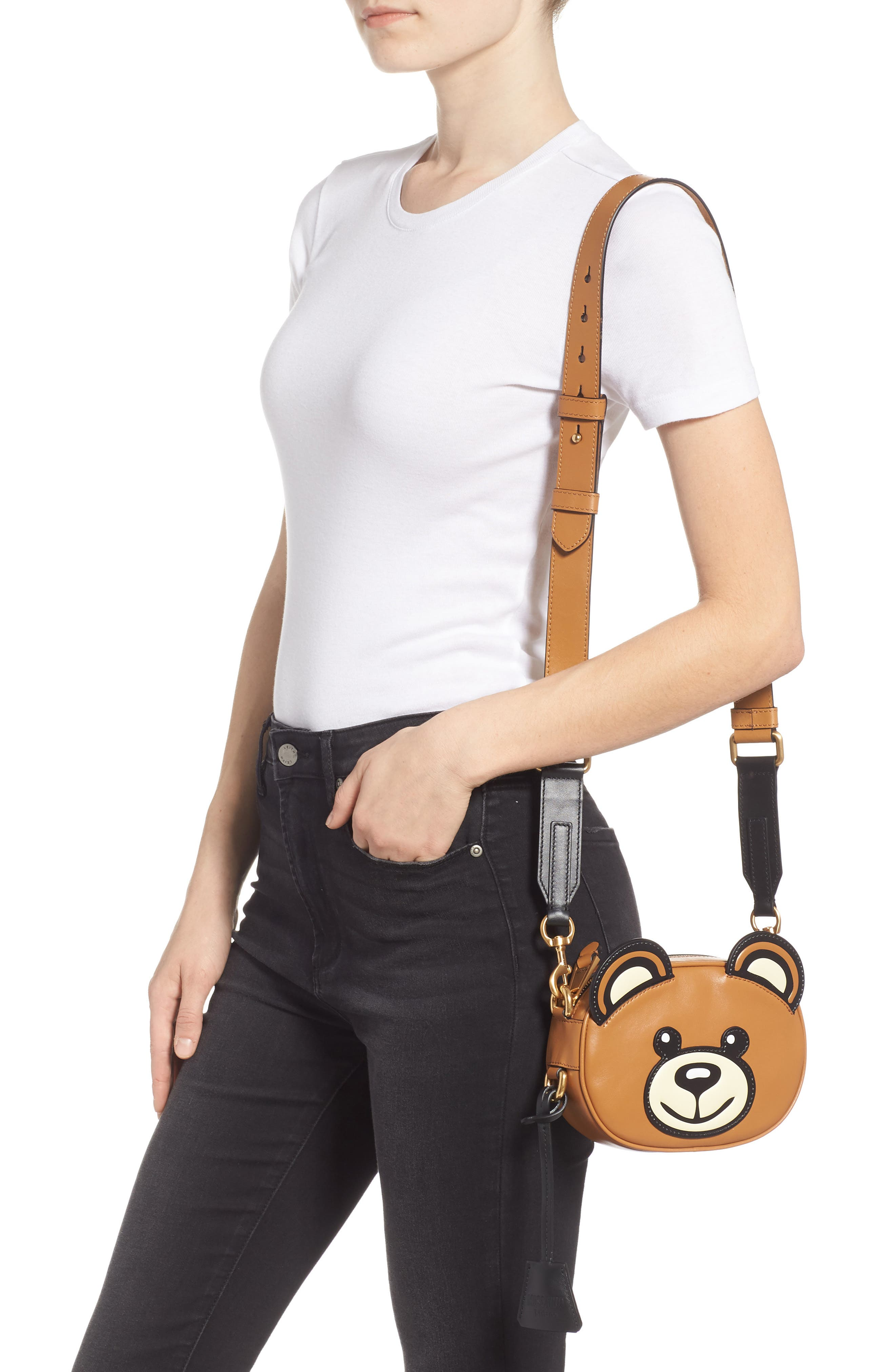 MOSCHINO, Crystal Teddy Leather Crossbody Bag, Alternate thumbnail 2, color, BROWN