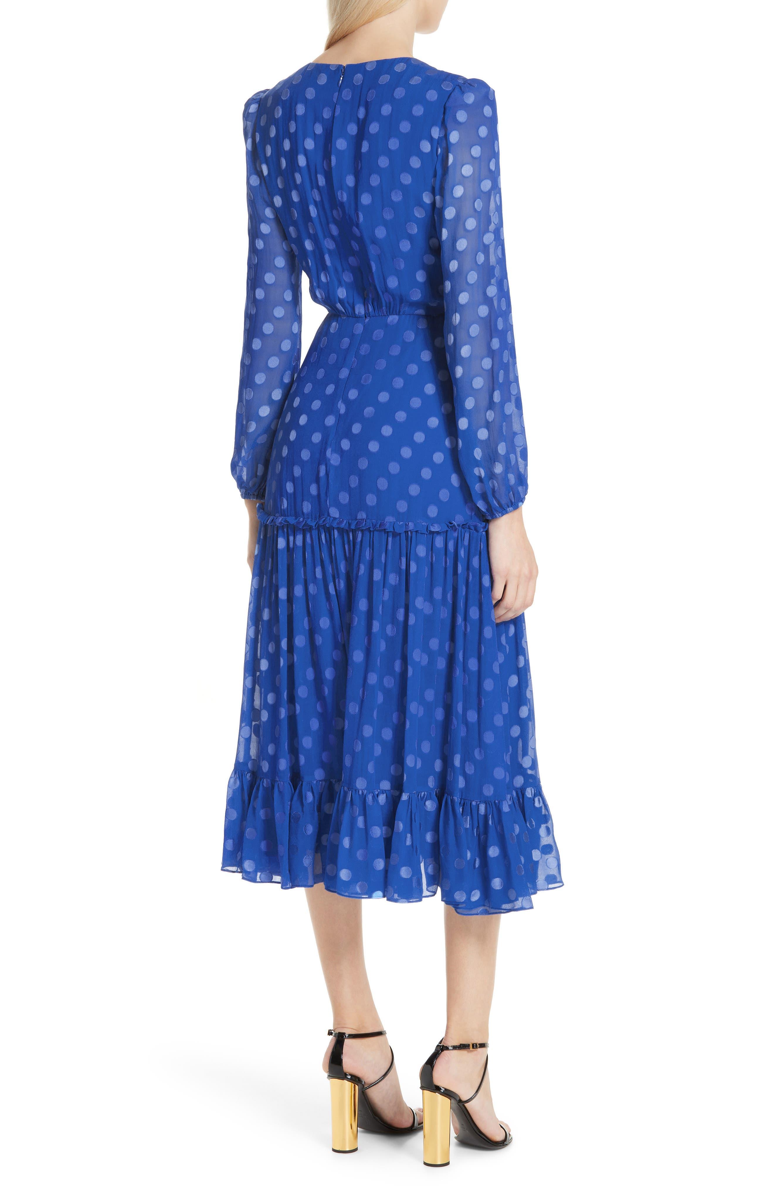 SALONI, Polka Dot Ruffle Dress, Alternate thumbnail 2, color, COBALT BLUE
