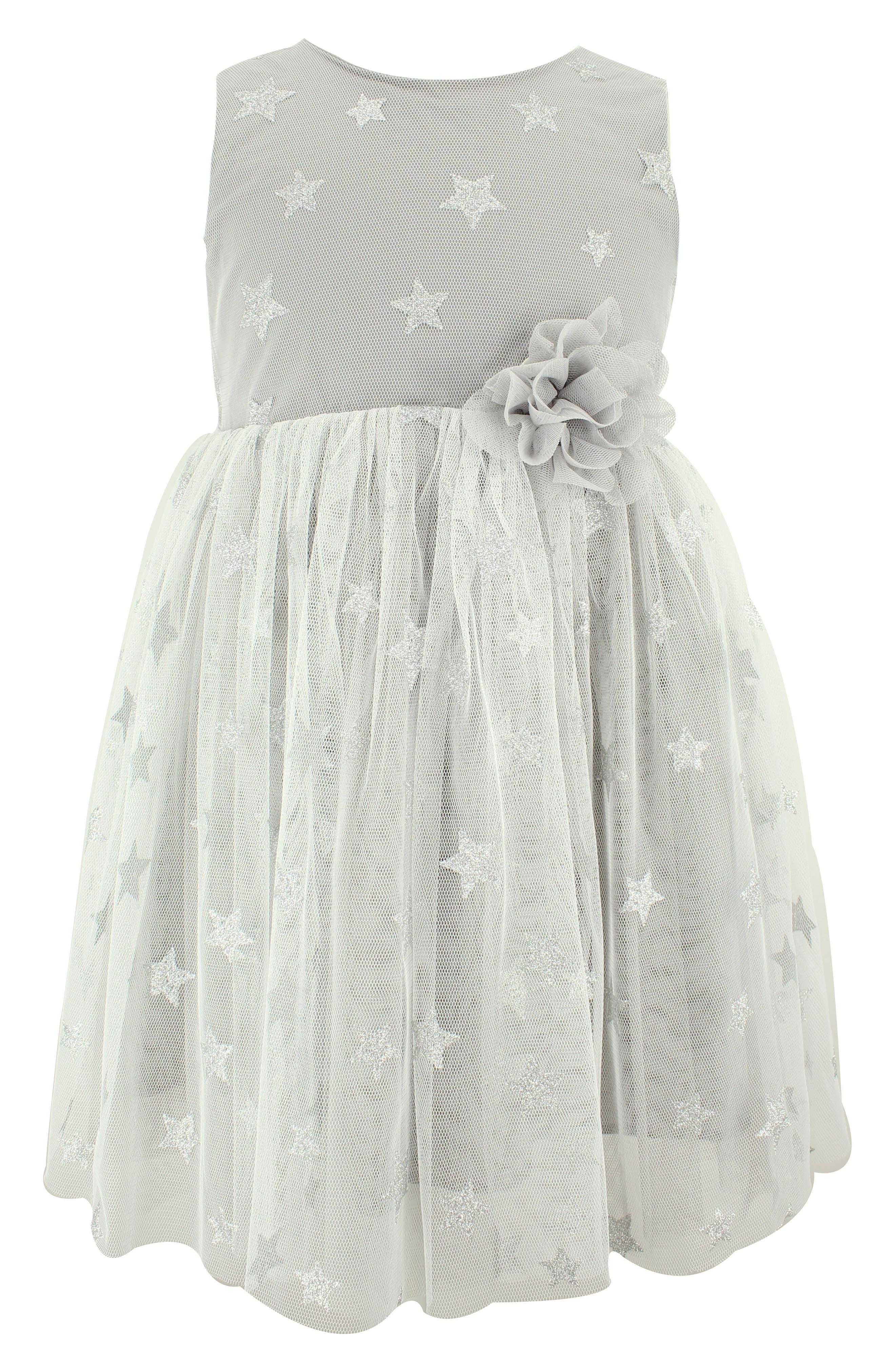 POPATU Glitter Star Tulle Dress, Main, color, SILVER