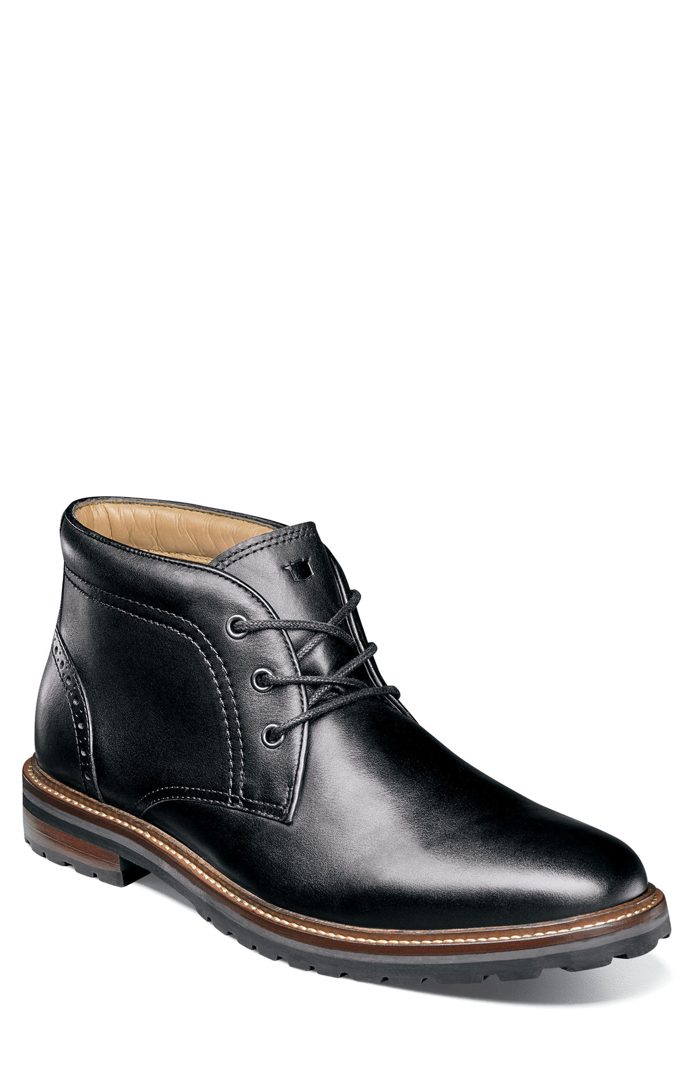 FLORSHEIM, Estabrook Lugged Chukka Boot, Main thumbnail 1, color, BLACK LEATHER