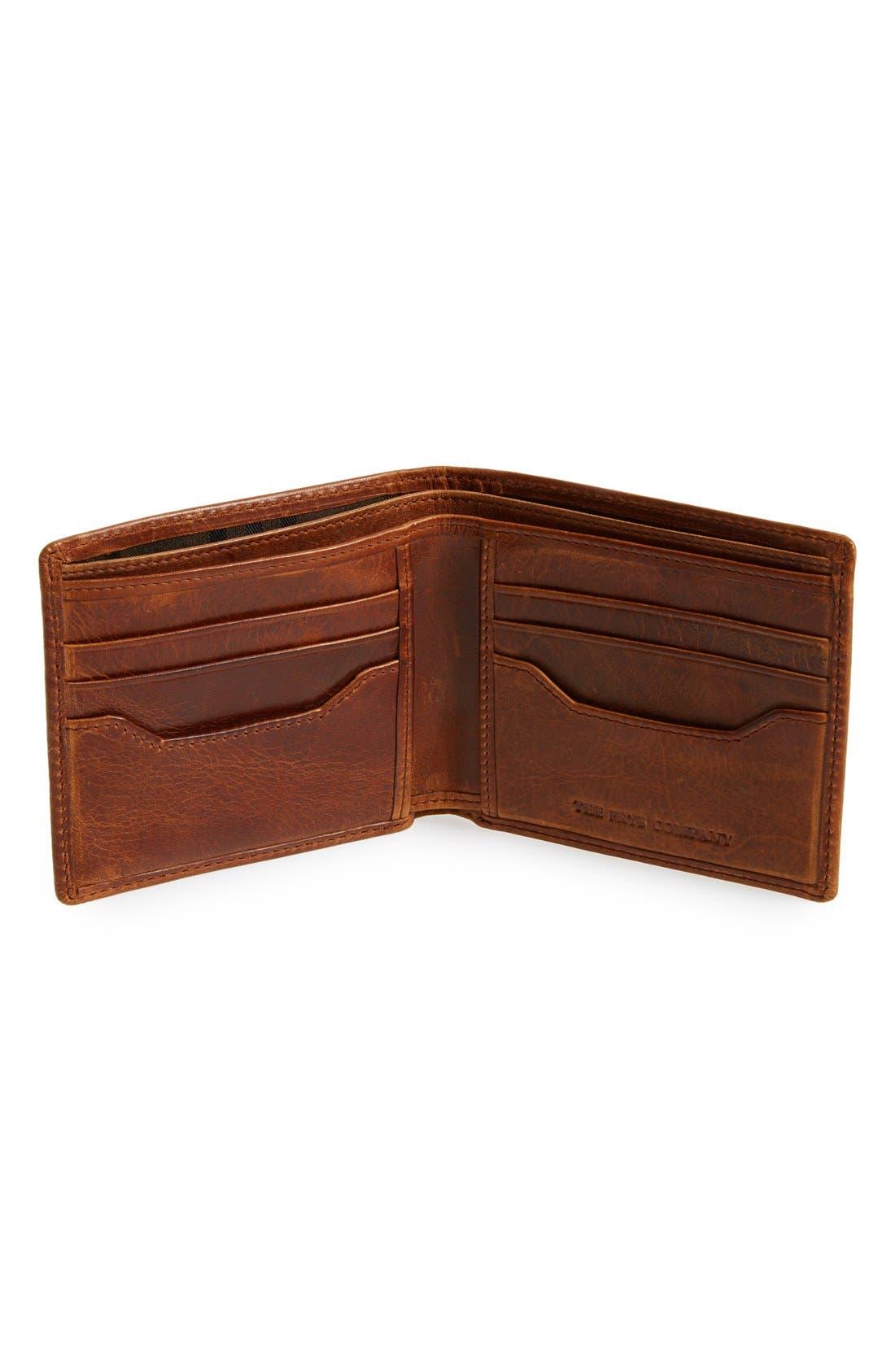 FRYE, 'Logan' Leather Billfold Wallet, Alternate thumbnail 2, color, COGNAC