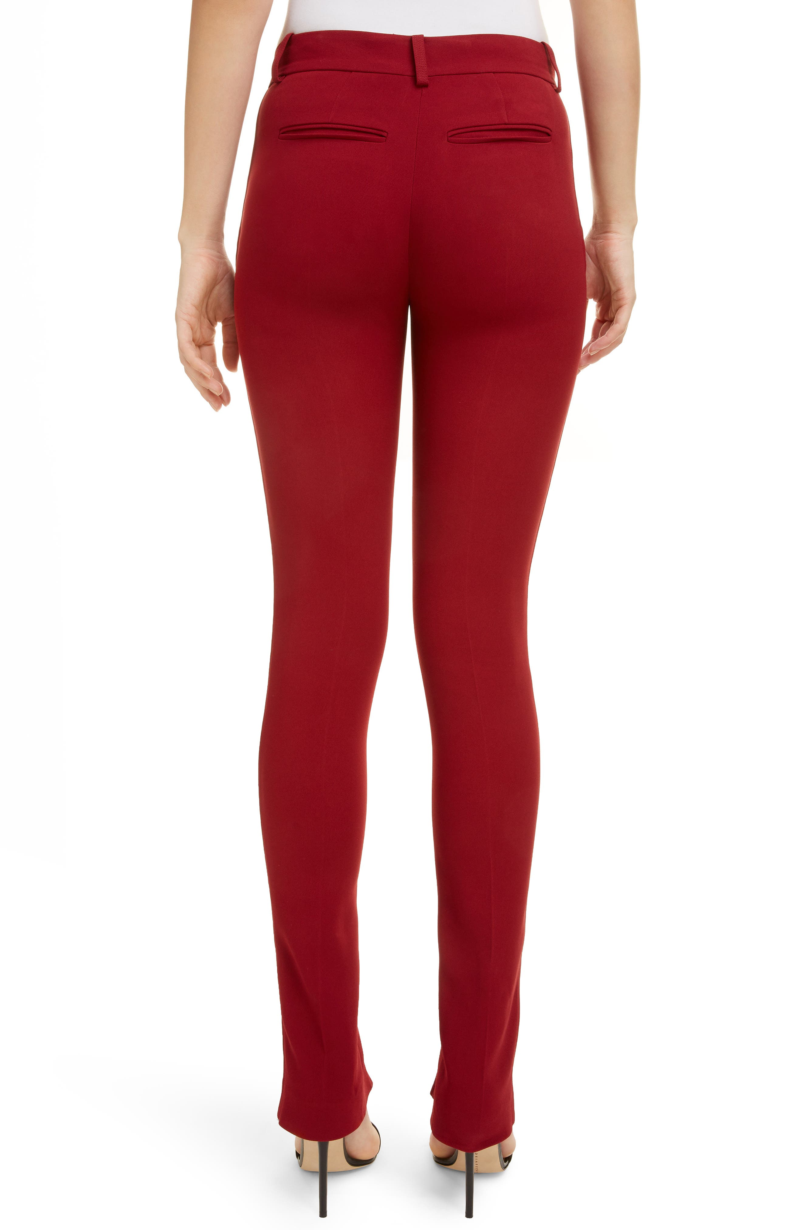 VICTORIA BECKHAM, Front Split Skinny Pants, Alternate thumbnail 2, color, BURGUNDY