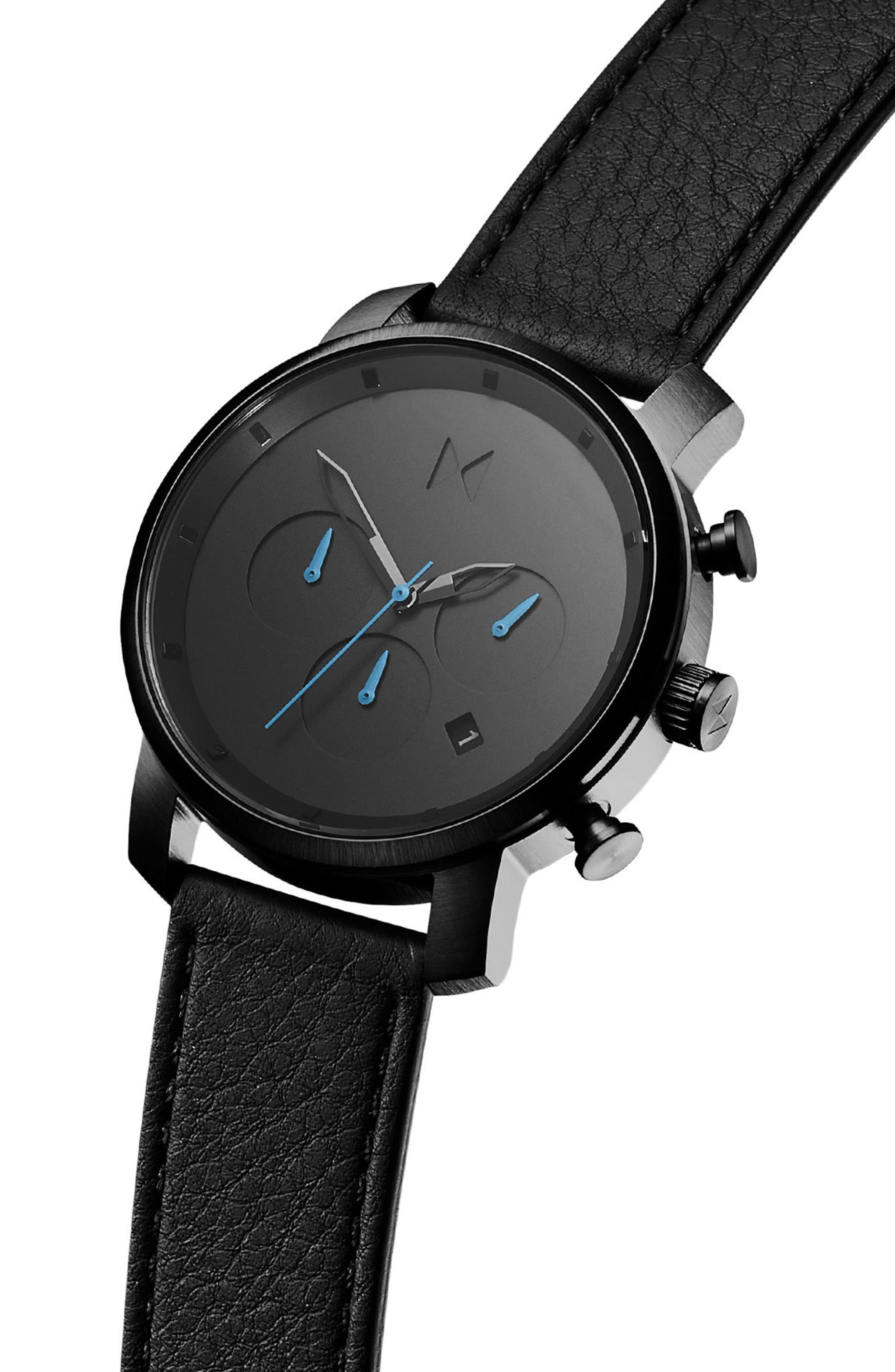 MVMT, The Chrono Chronograph Leather Strap Watch, 40mm, Alternate thumbnail 3, color, GUNMETAL/BLACK