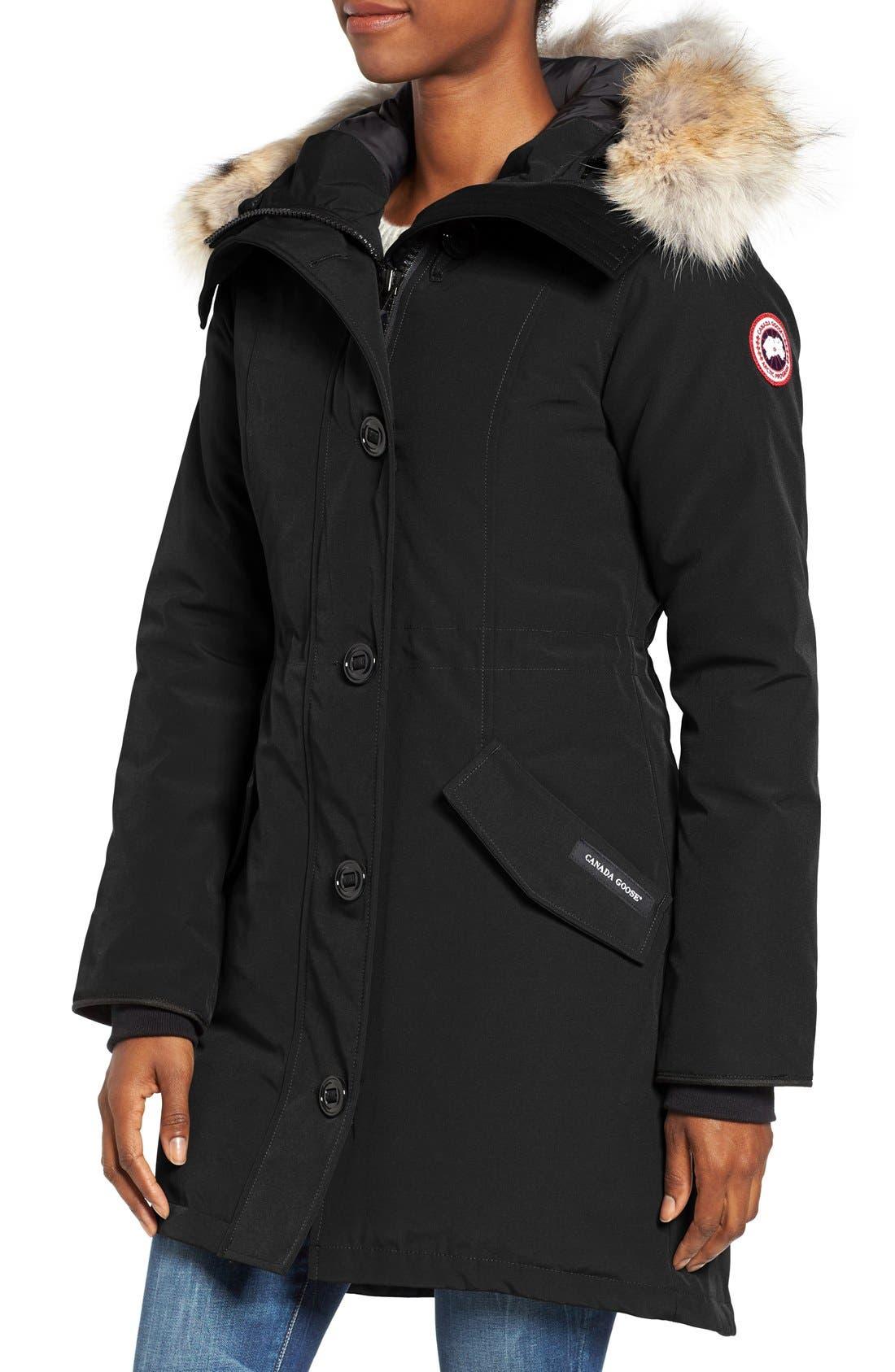 CANADA GOOSE, Rossclair Genuine Coyote Fur Trim Down Parka, Alternate thumbnail 5, color, BLACK