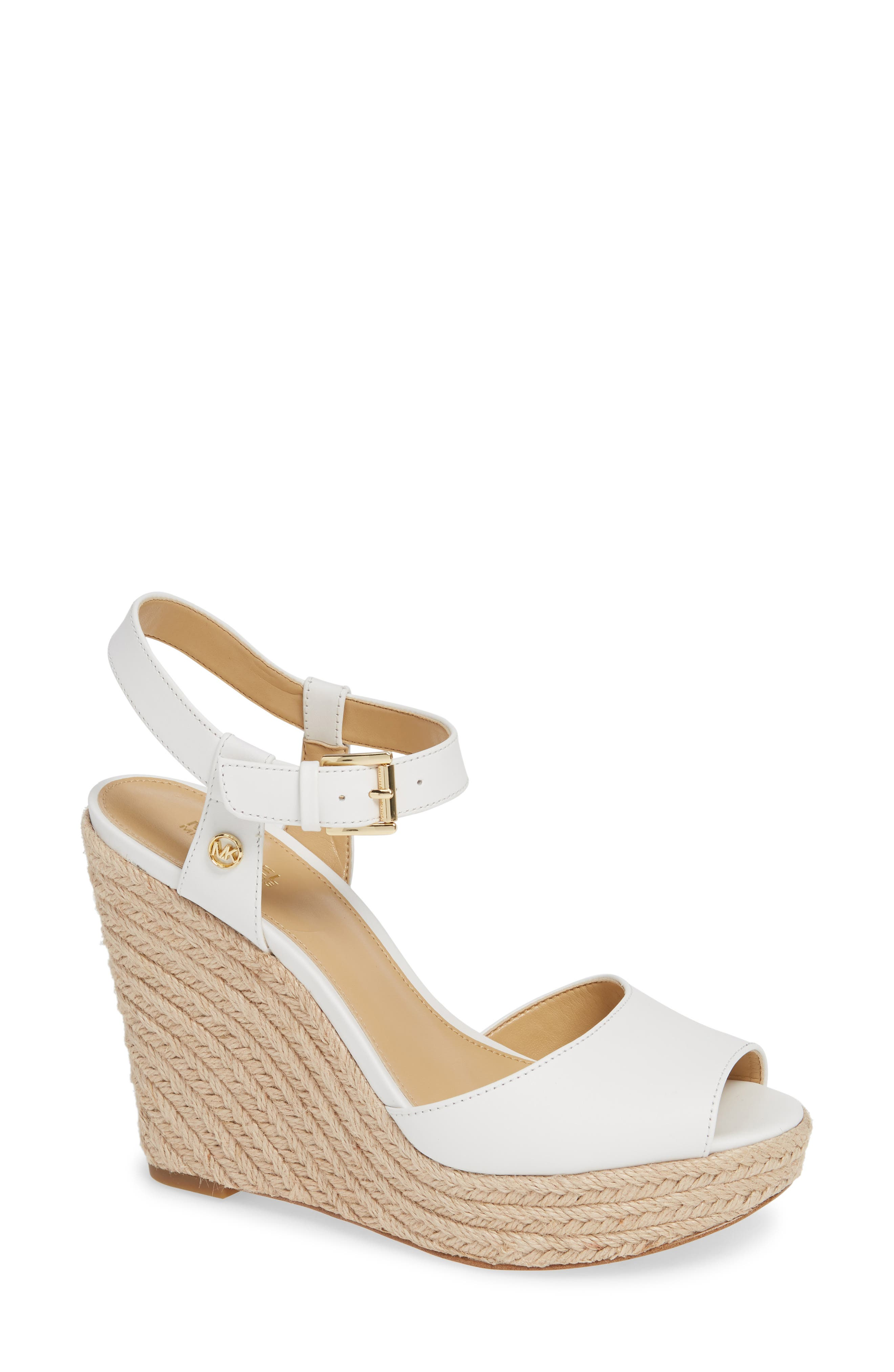 MICHAEL MICHAEL KORS, Carlyn Espadrille Wedge Sandal, Main thumbnail 1, color, 100
