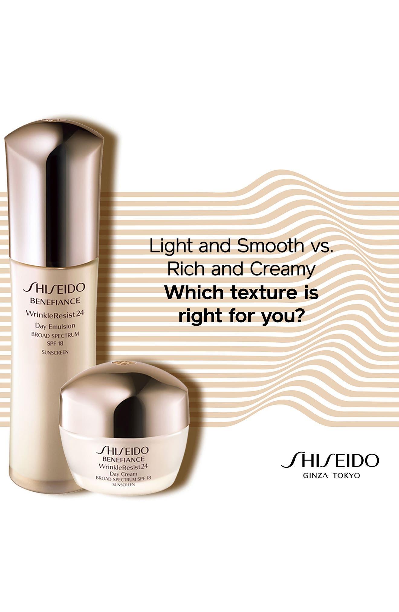 SHISEIDO, Benefiance WrinkleResist24 Day Cream SPF 18, Alternate thumbnail 2, color, NO COLOR