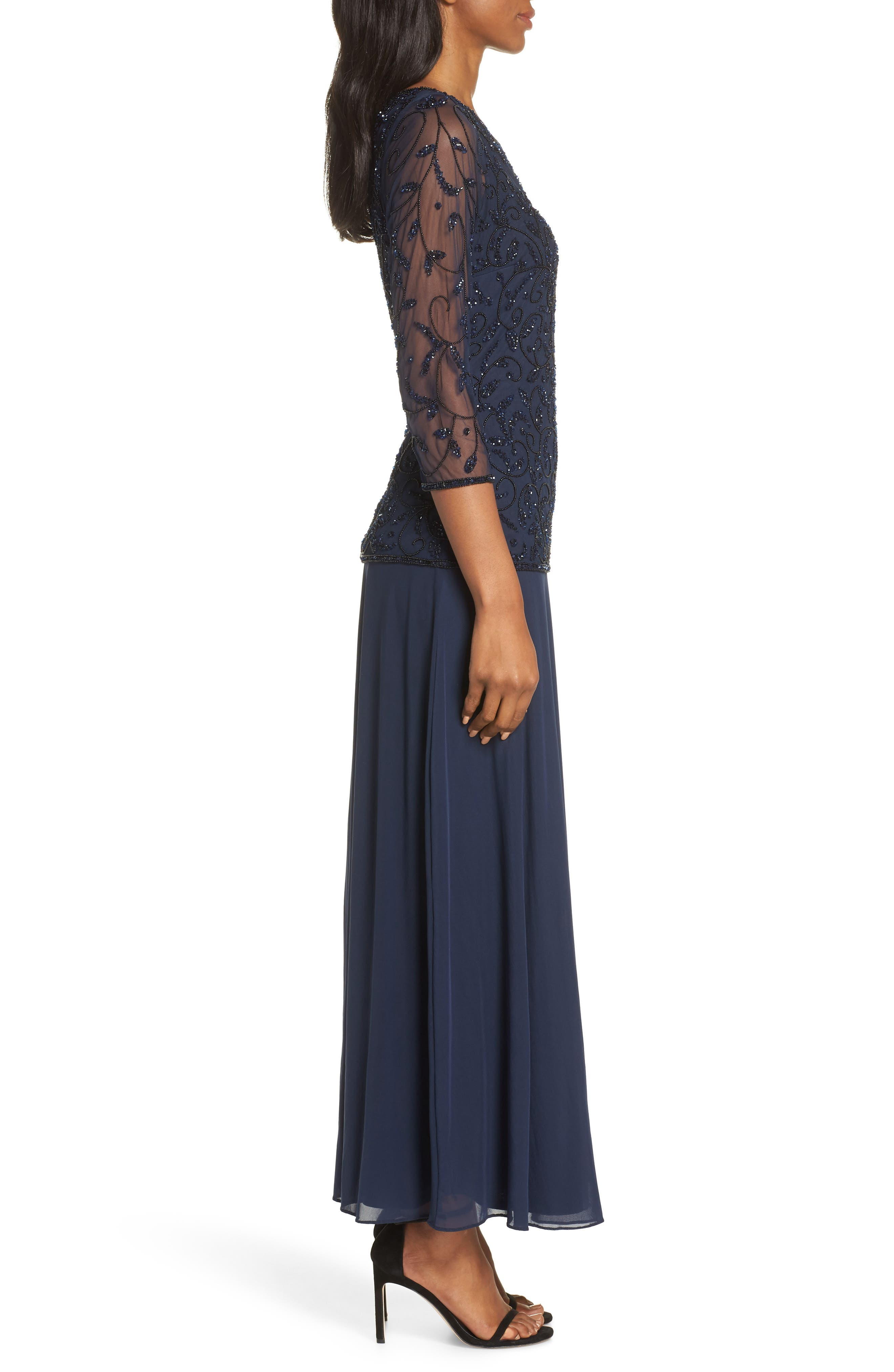 PISARRO NIGHTS, Beaded Mesh Mock Two-Piece Gown, Alternate thumbnail 4, color, NAVY/ BLACK