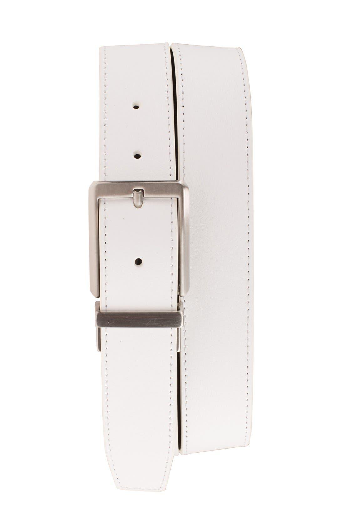 NIKE, 'Core' Reversible Leather Belt, Main thumbnail 1, color, WHITE/ BLACK