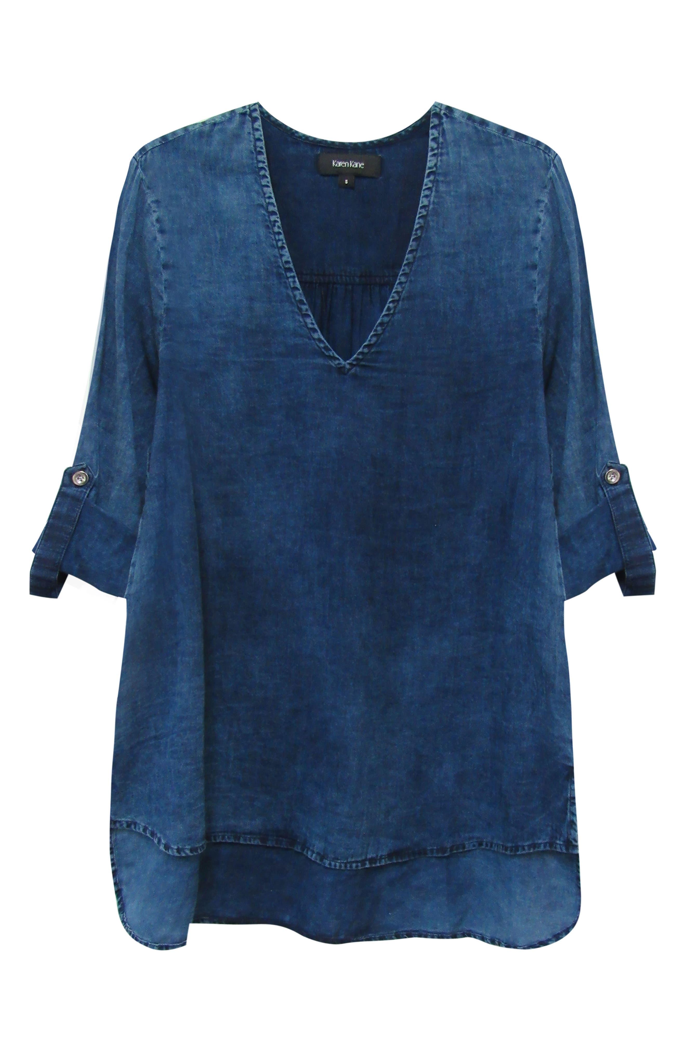 KAREN KANE, High/Low Shirttail Denim Top, Alternate thumbnail 3, color, INDIGO