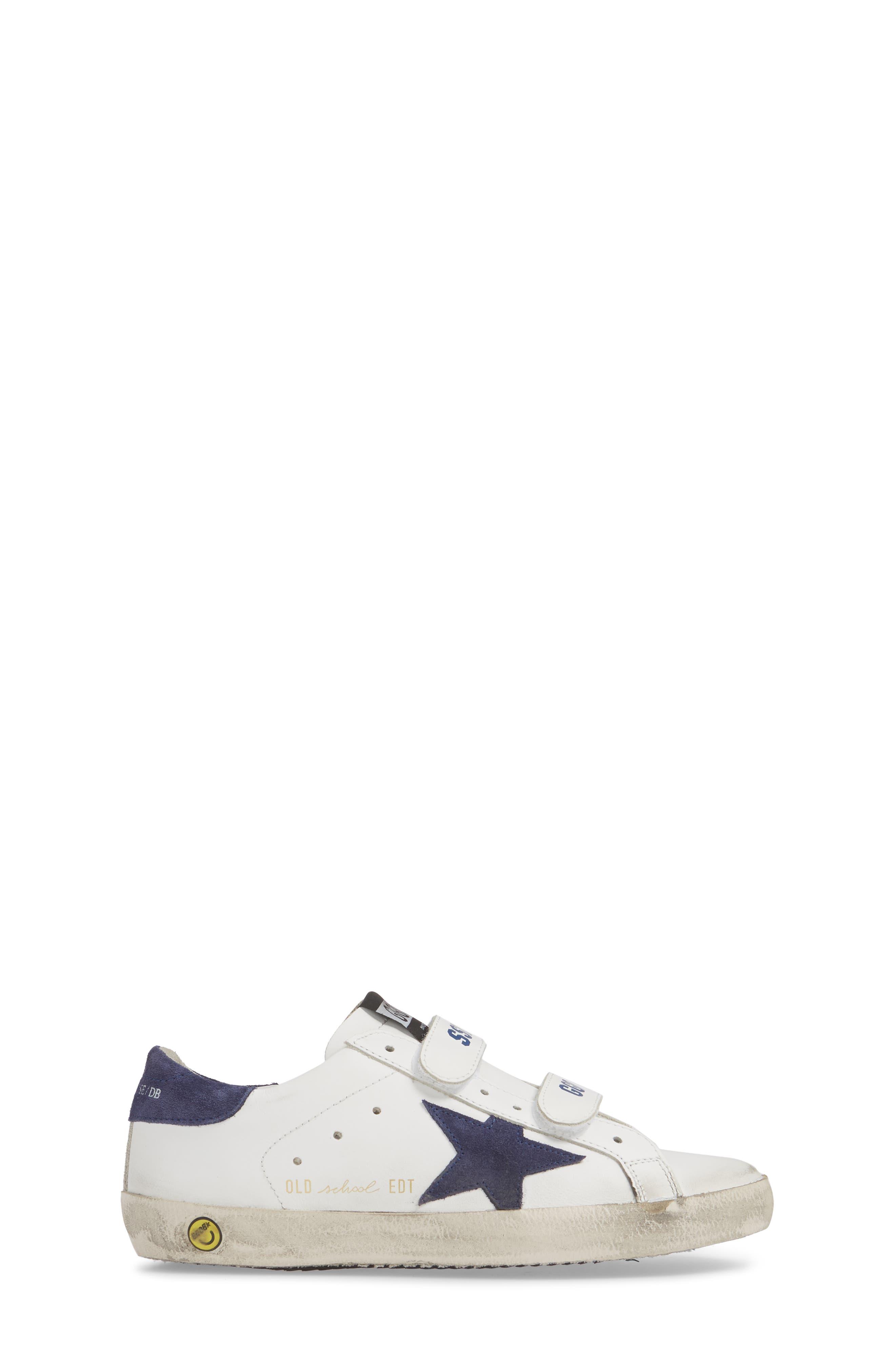 GOLDEN GOOSE, Glitter Old School Sneaker, Alternate thumbnail 3, color, WHITE LEATHER/ NAVY STAR