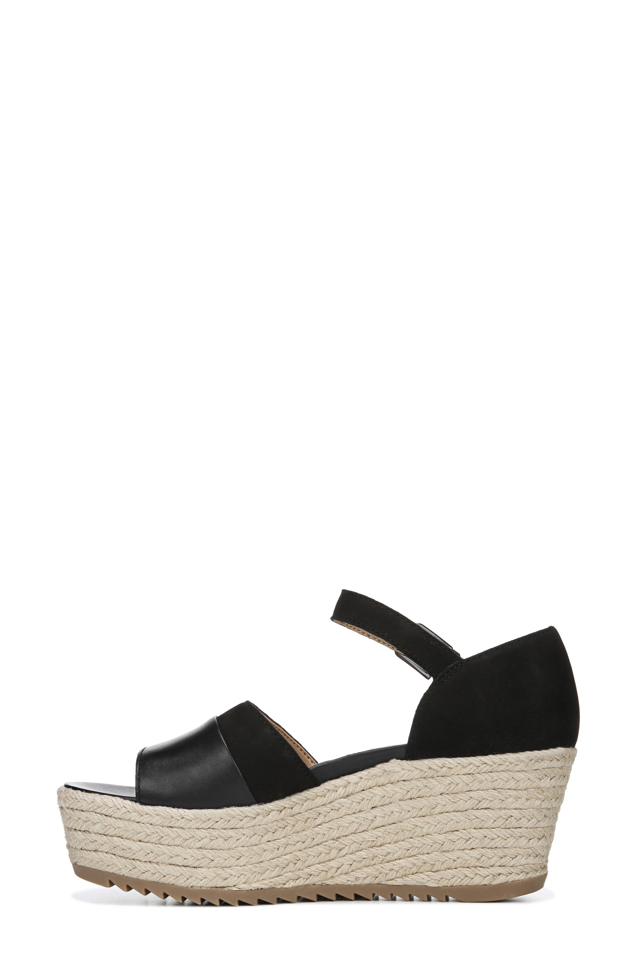 NATURALIZER, Opal Espadrille Platform Wedge Sandal, Alternate thumbnail 8, color, BLACK LEATHER