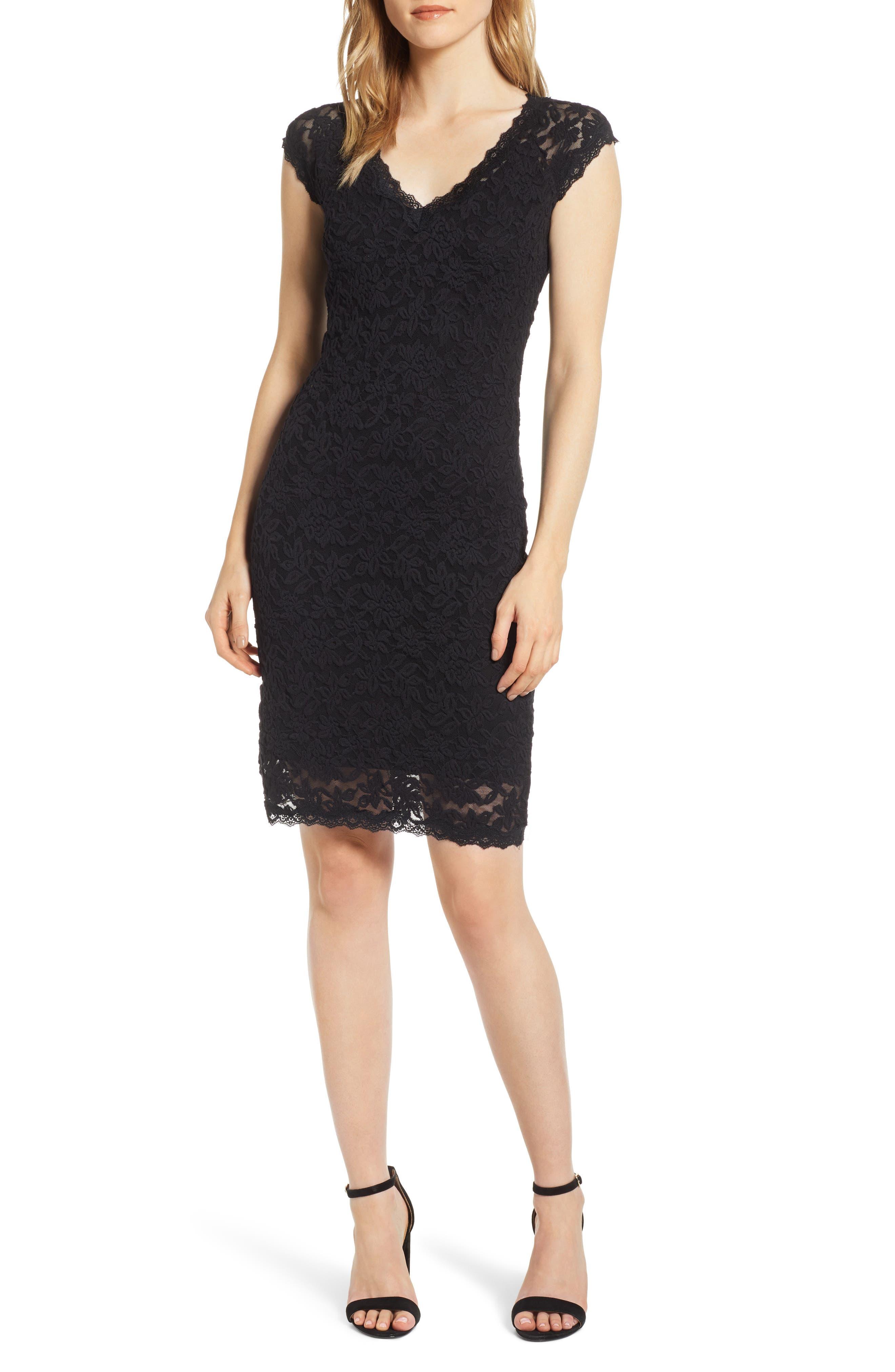 ROSEMUNDE Delicia V-Neck Dress, Main, color, BLACK