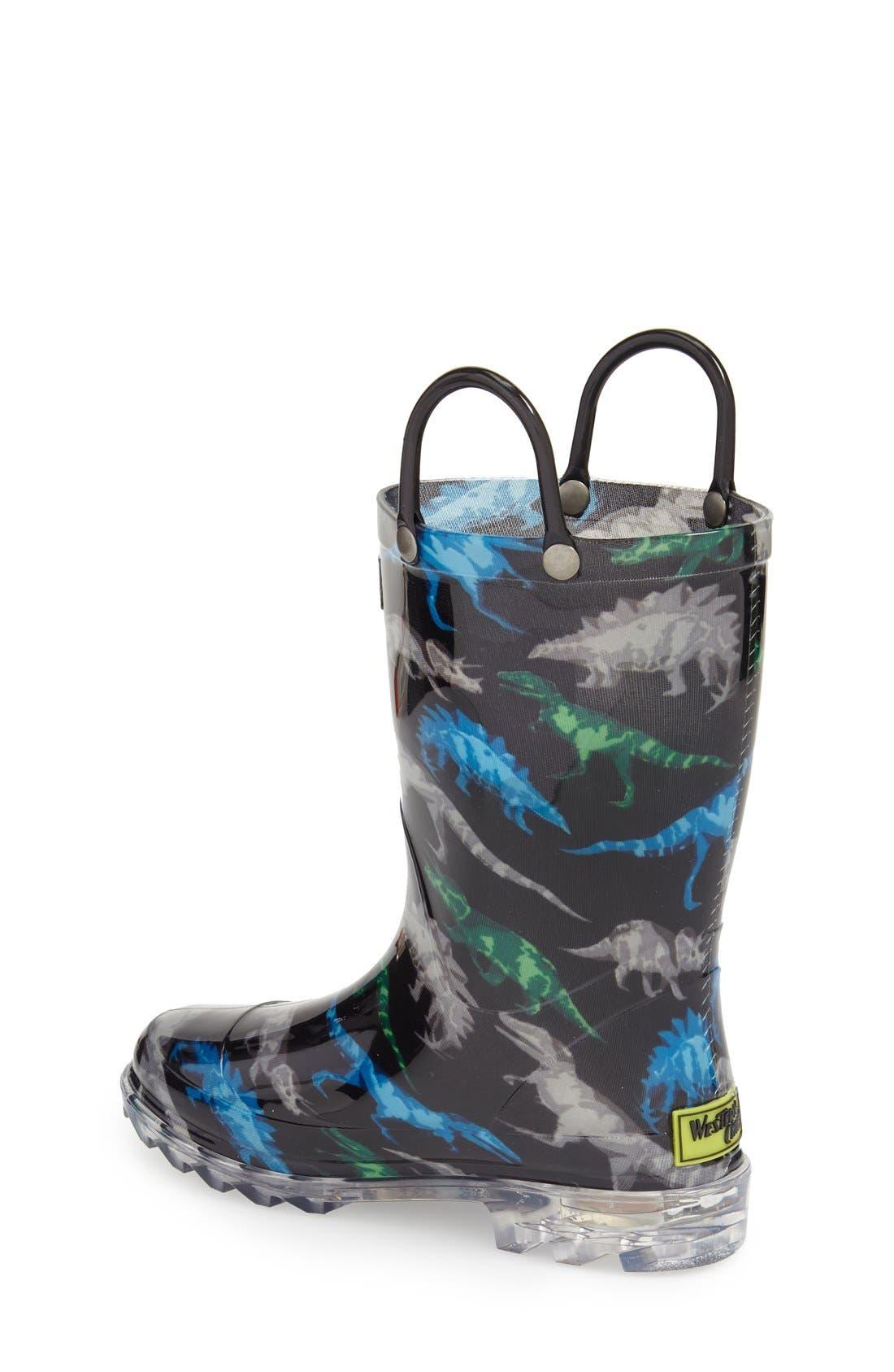WESTERN CHIEF, Dinosaur Friends Light-Up Waterproof Rain Boot, Alternate thumbnail 2, color, BLACK