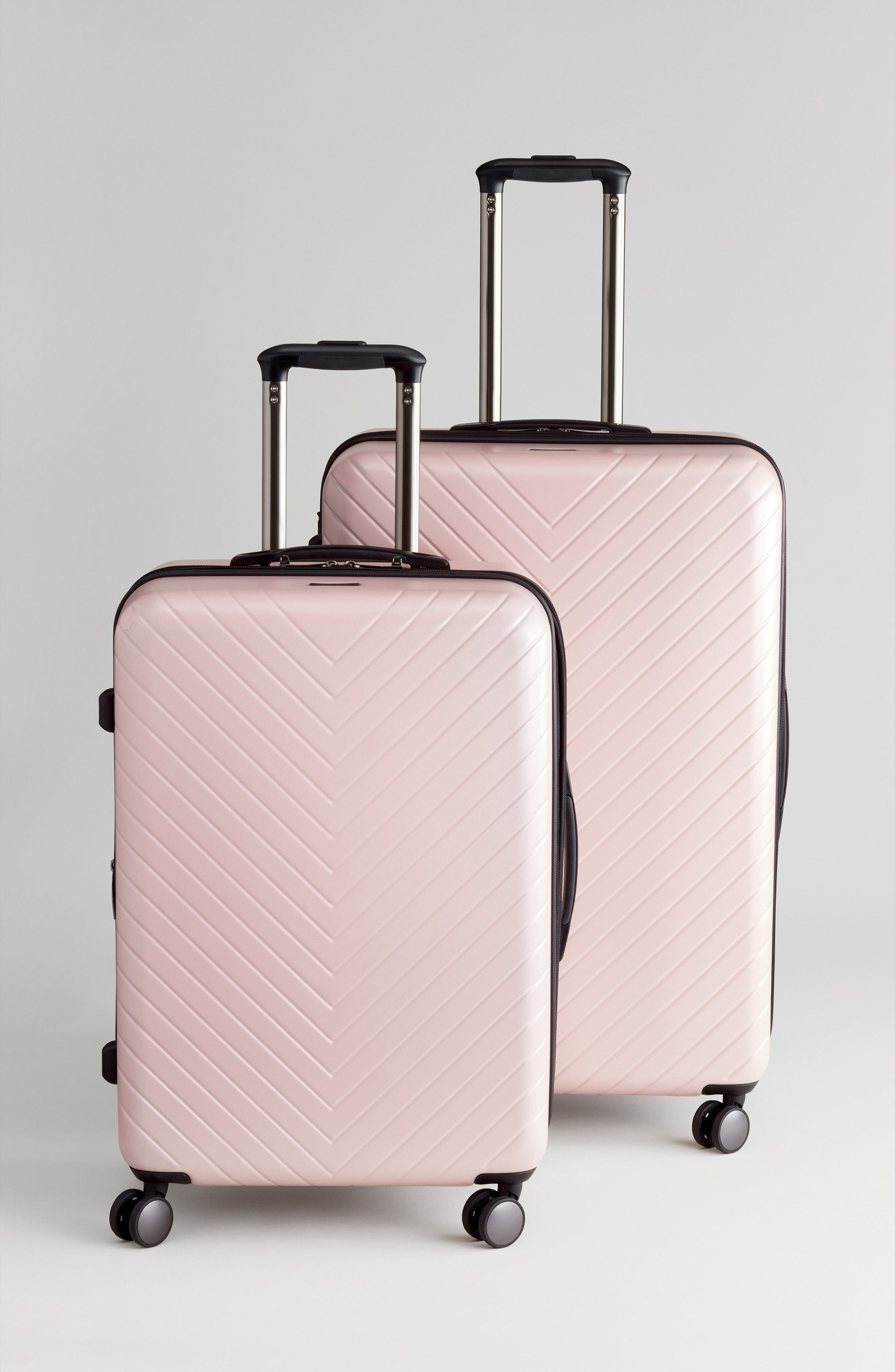 NORDSTROM, Chevron 29-Inch & 18-Inch Spinner Luggage Set, Alternate thumbnail 5, color, PINK HERO