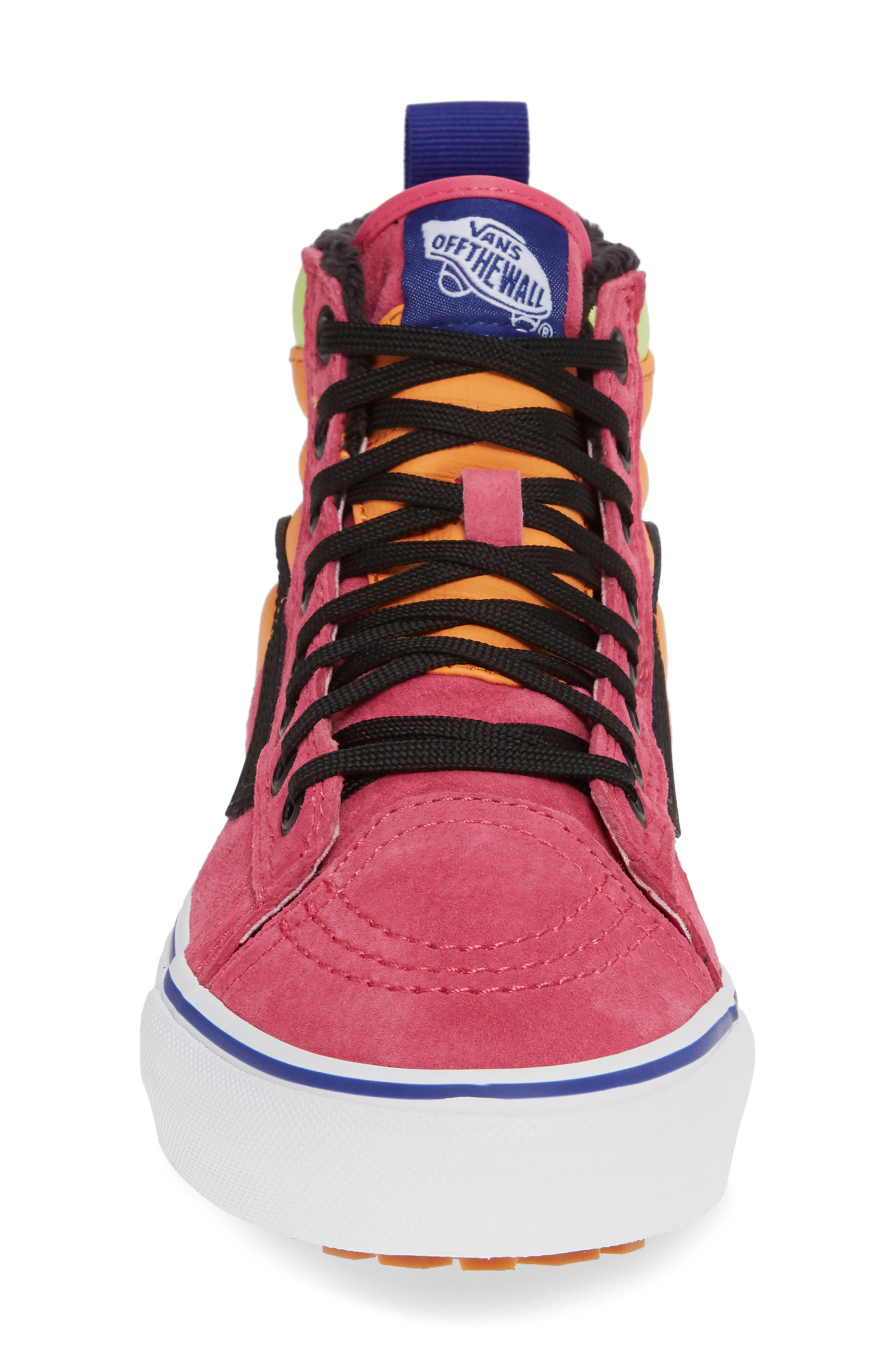 VANS, Sk8-Hi 46 MTE DX Sneaker, Alternate thumbnail 4, color, PINK YARROW/ TANGERINE/ BLACK