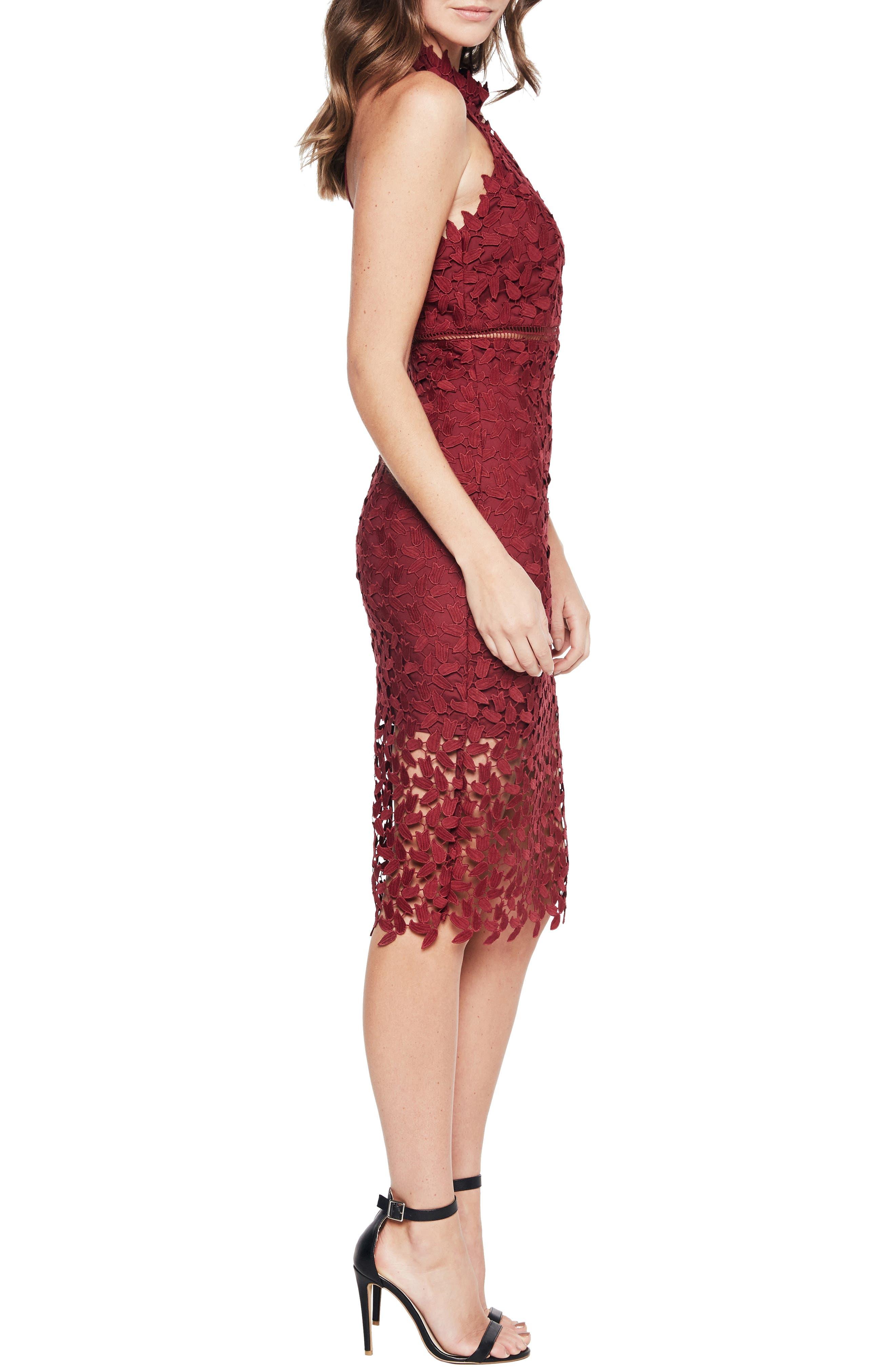 BARDOT, Gemma Halter Lace Sheath Dress, Alternate thumbnail 4, color, BURGUNDY