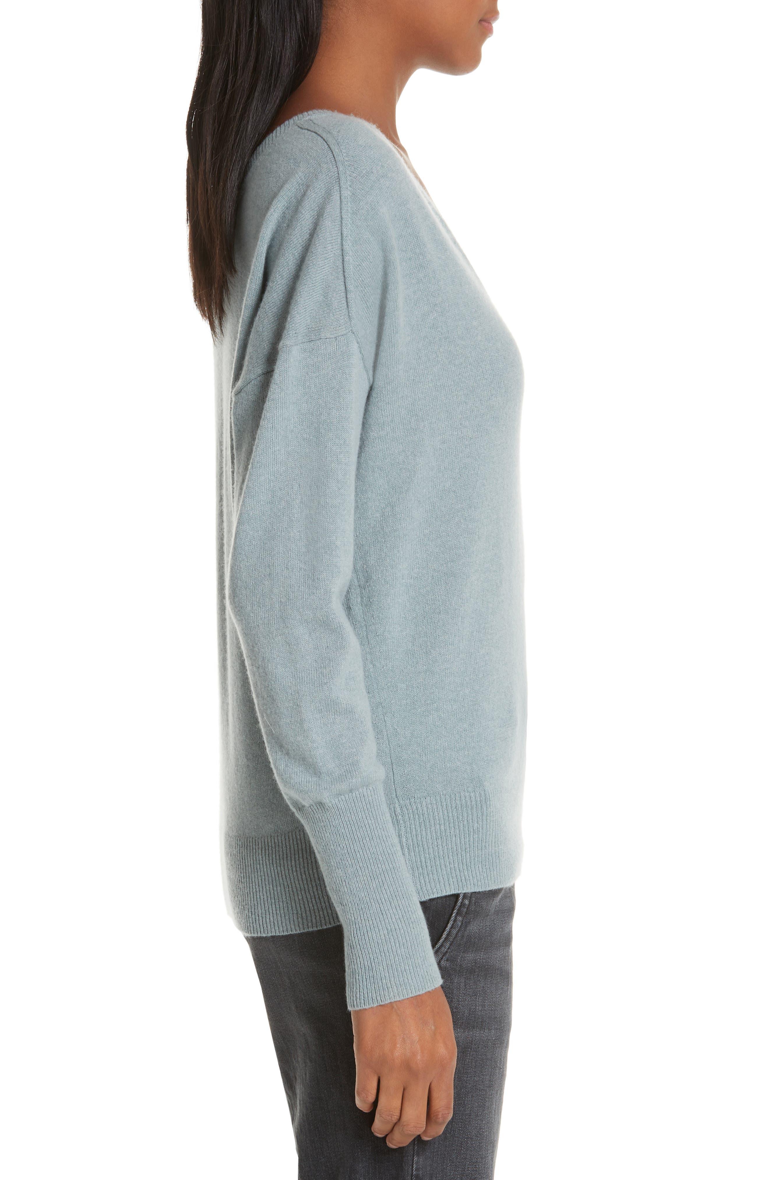 NILI LOTAN, Kylan Cashmere Sweater, Alternate thumbnail 3, color, SKY BLUE
