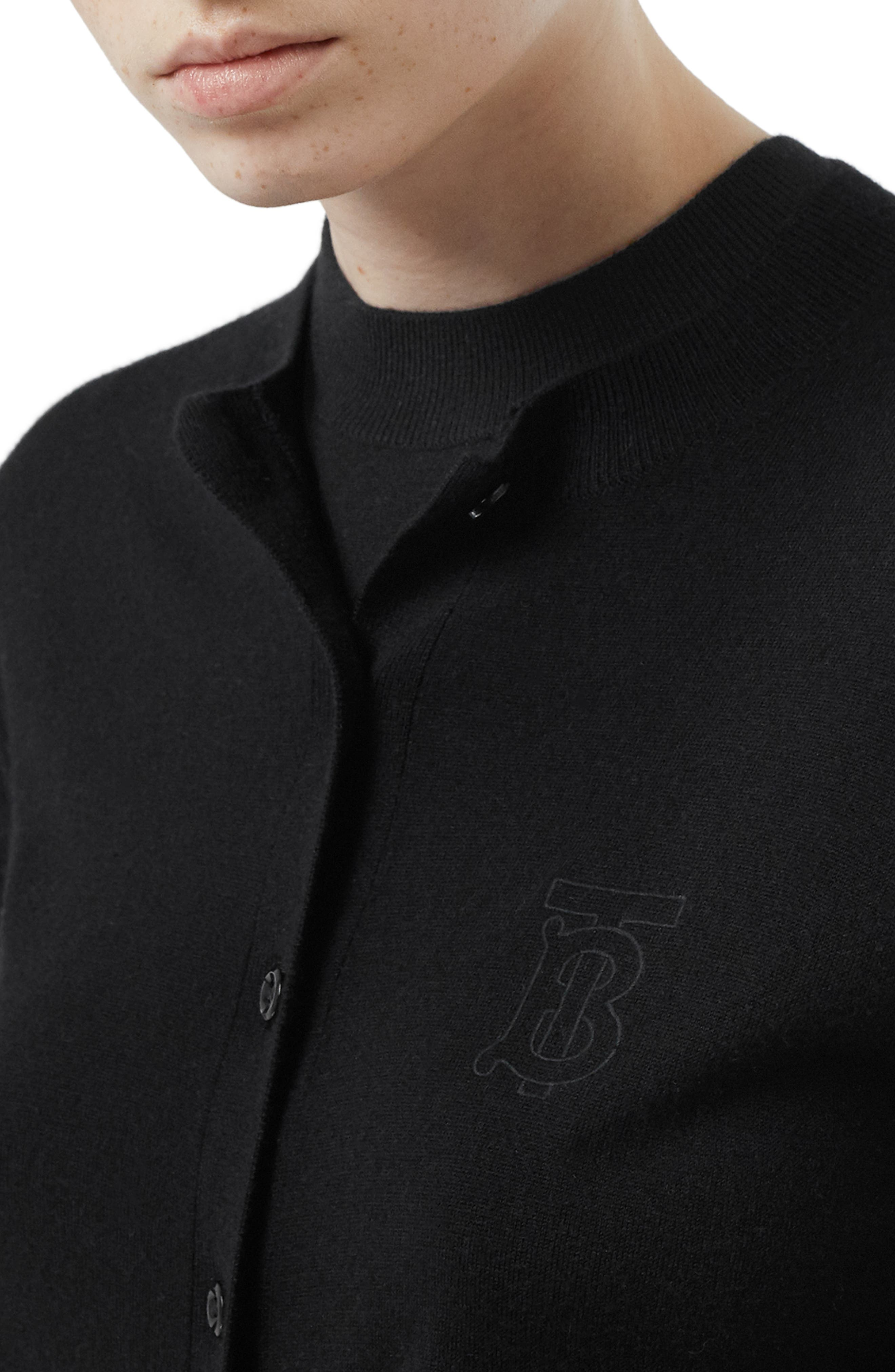 BURBERRY, Monogram Logo Cashmere Cardigan, Alternate thumbnail 4, color, BLACK