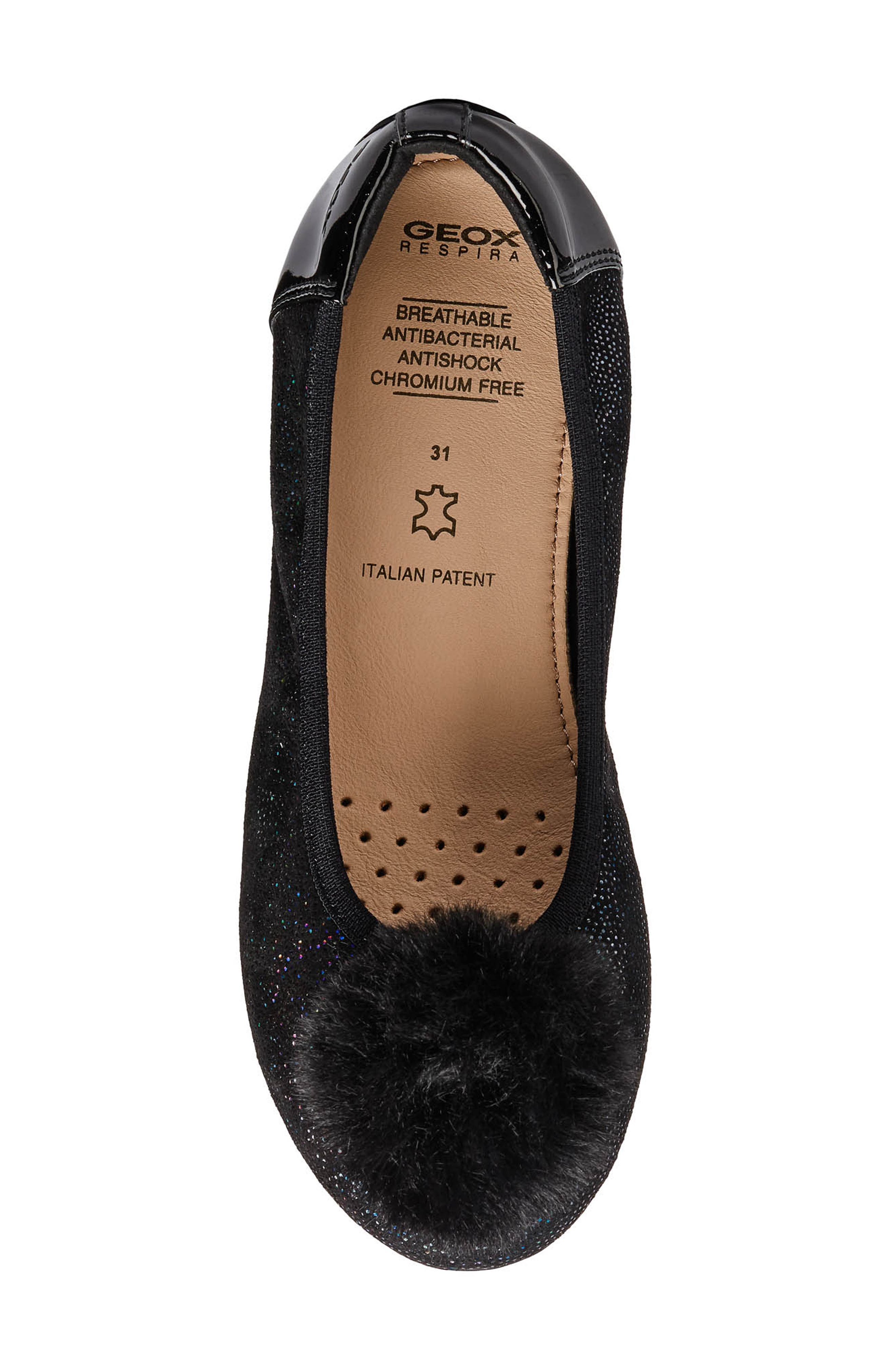 GEOX, Piuma Faux Fur Pom Glitter Ballerina Flat, Alternate thumbnail 4, color, BLACK