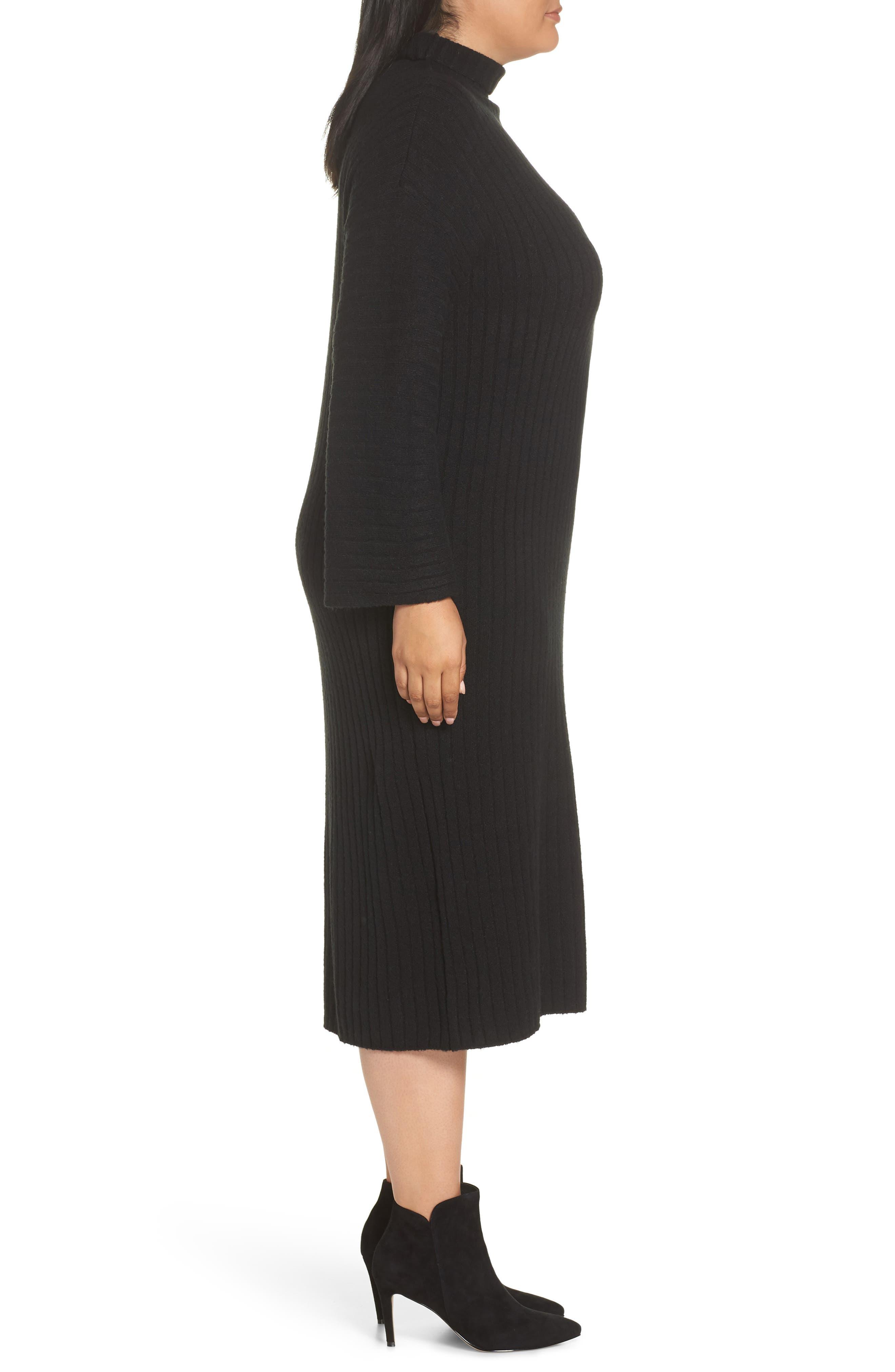 LEITH, Ribbed Midi Sweater Dress, Alternate thumbnail 4, color, BLACK