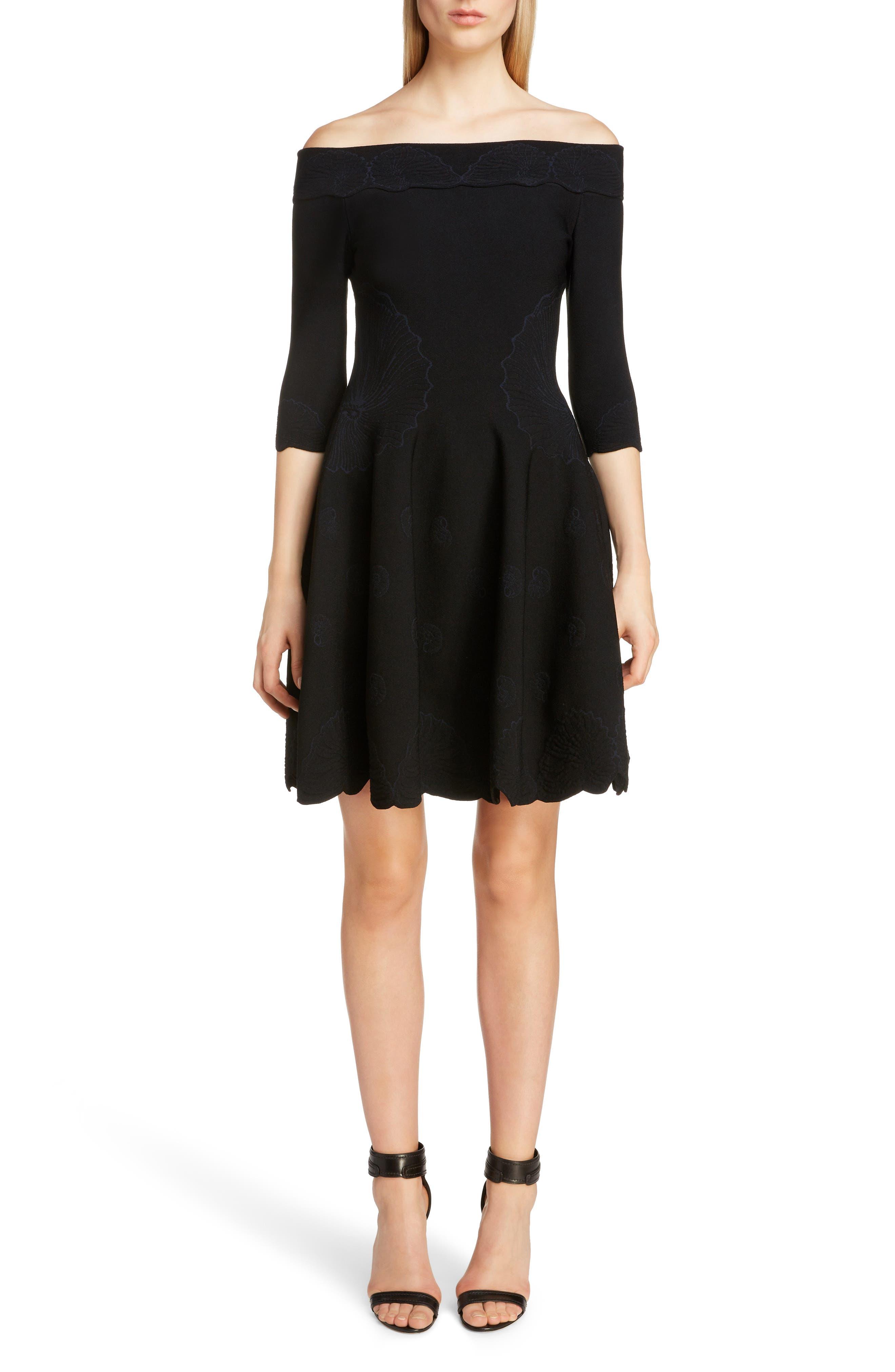 Alexander Mcqueen Off The Shoulder Shell Jacquard Dress, Black