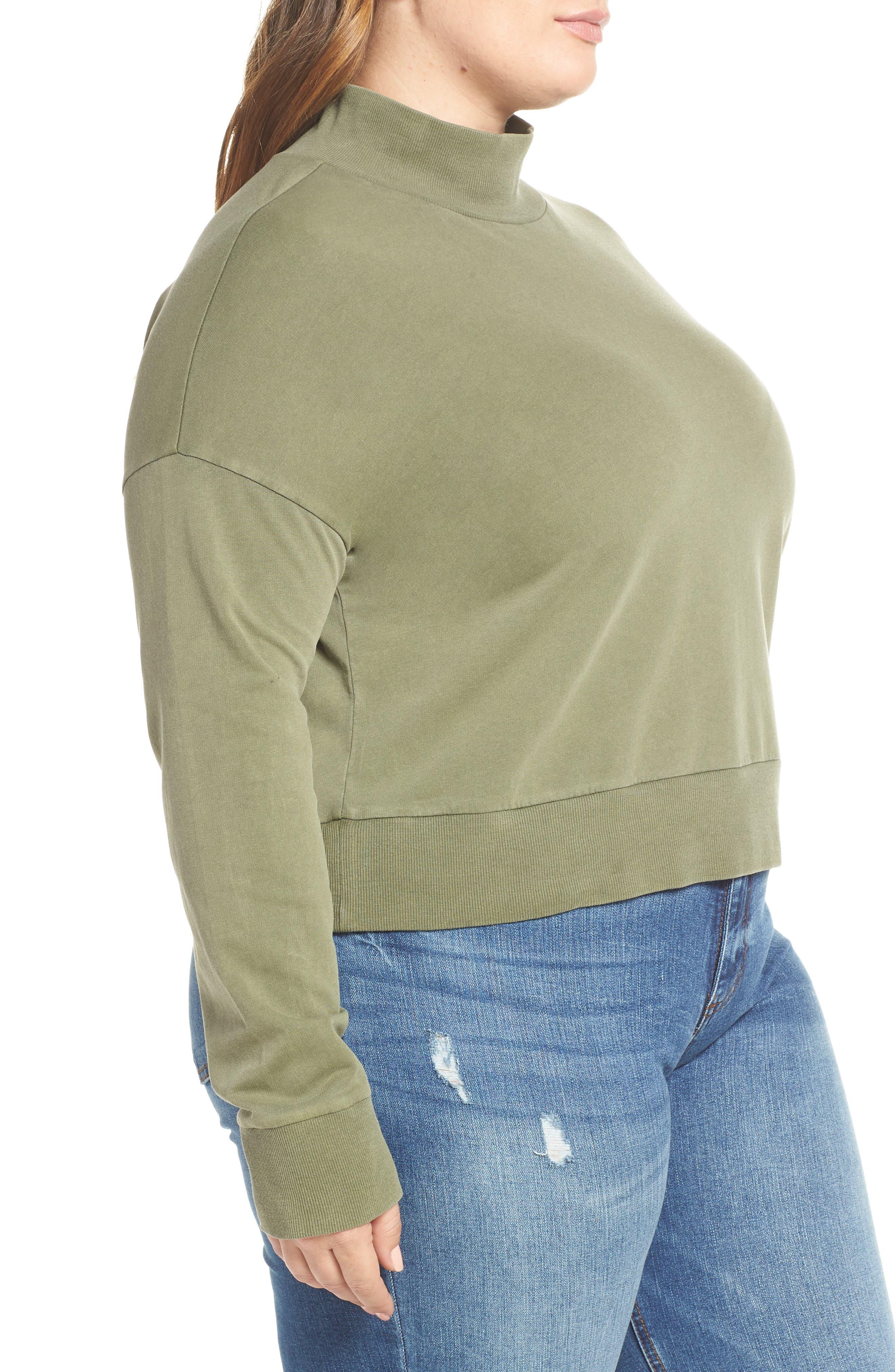 BP., Washed Mock Neck Sweatshirt, Alternate thumbnail 9, color, OLIVE BURNT