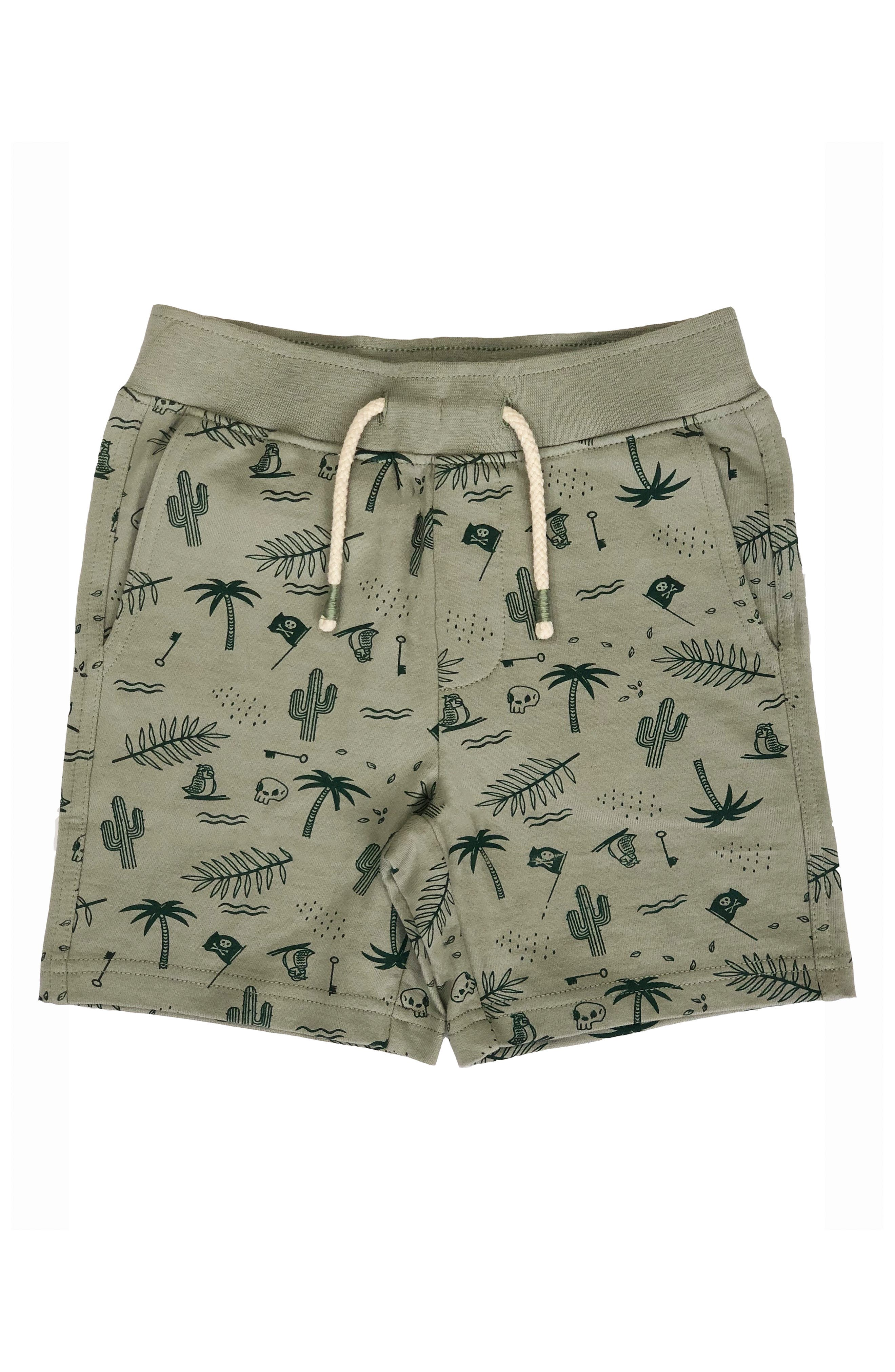 REBEL JAMES & CHARLI Pirate Print Pull-On Shorts, Main, color, OLIVE