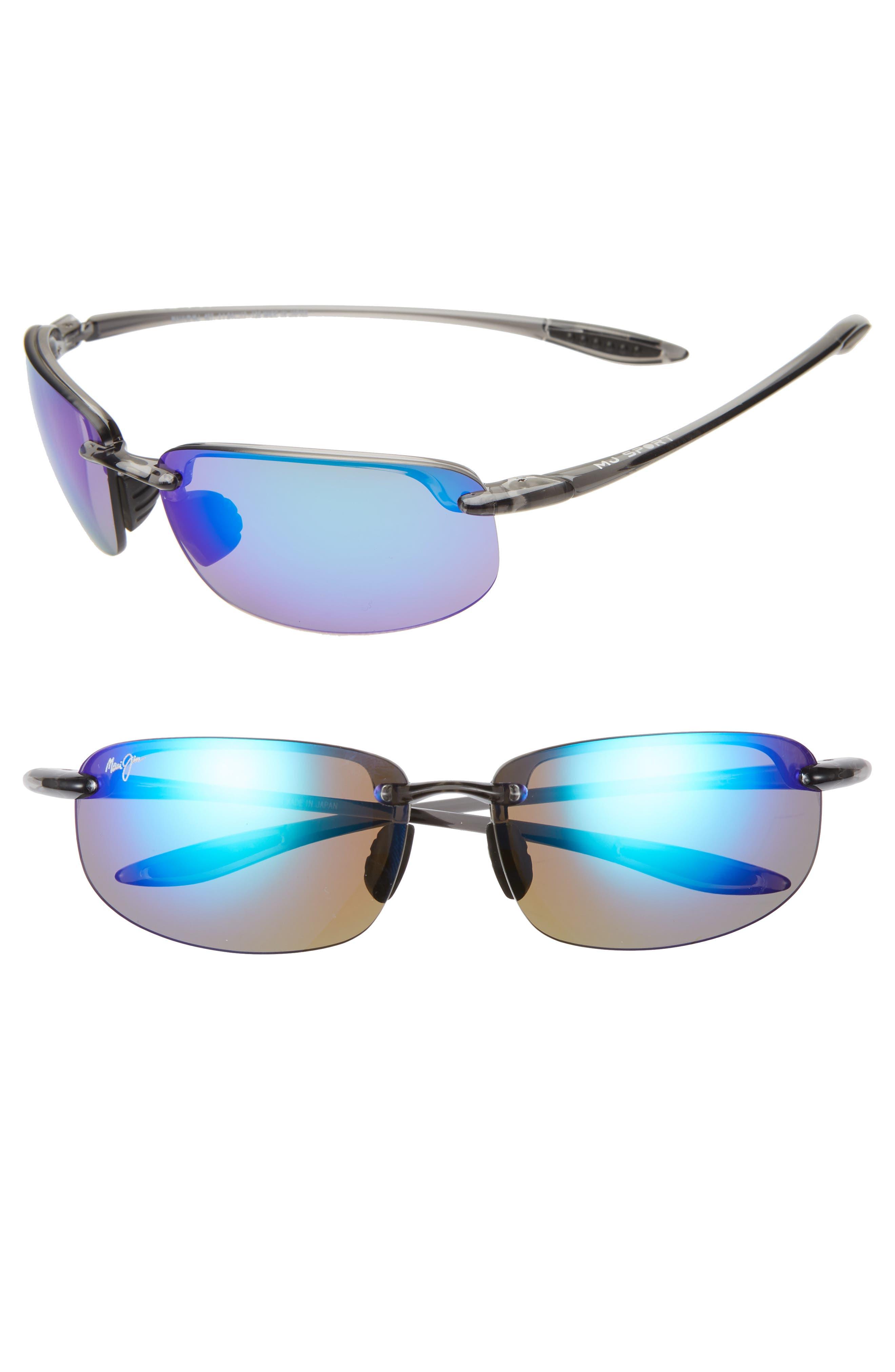 MAUI JIM, 'Ho'okipa - PolarizedPlus<sup>®</sup>2' 63mm Sunglasses, Alternate thumbnail 2, color, SMOKE GREY/ BLUE HAWAII