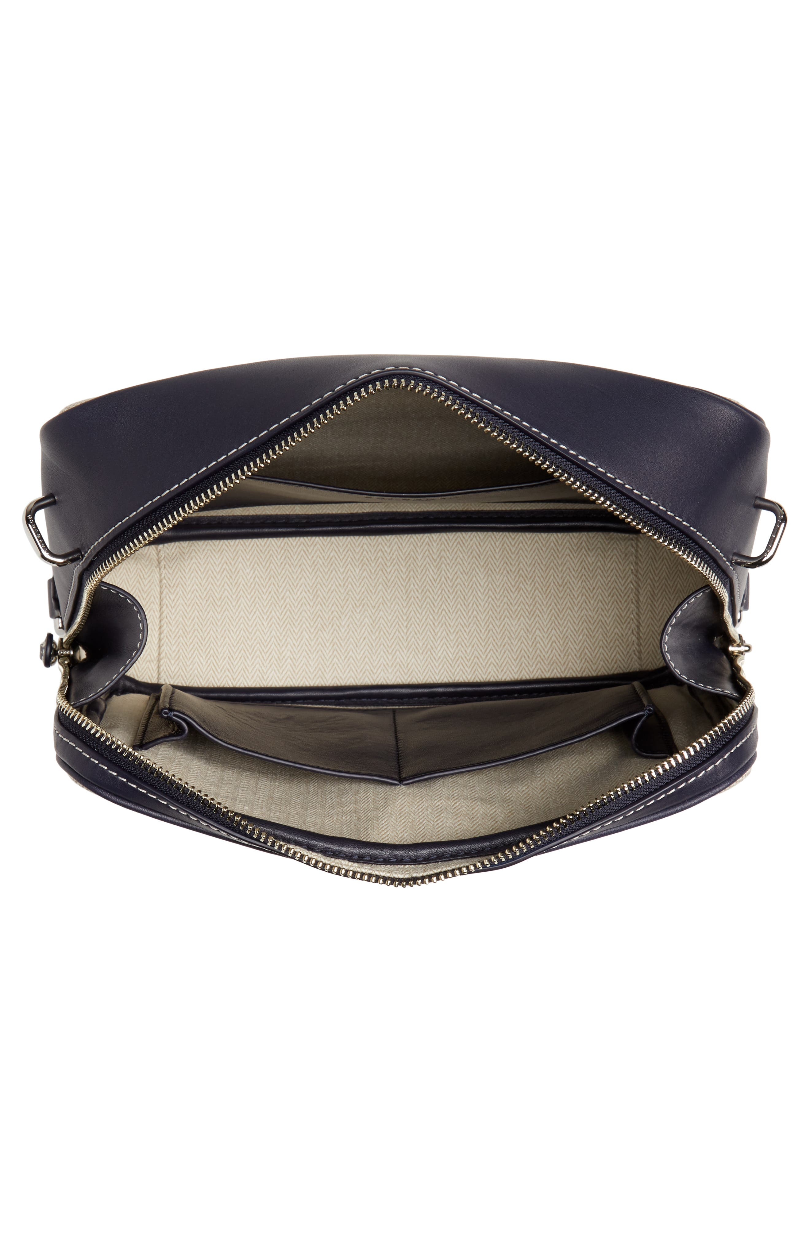 TORY BURCH, Leather & Canvas Camera Bag, Alternate thumbnail 5, color, MIDNIGHT