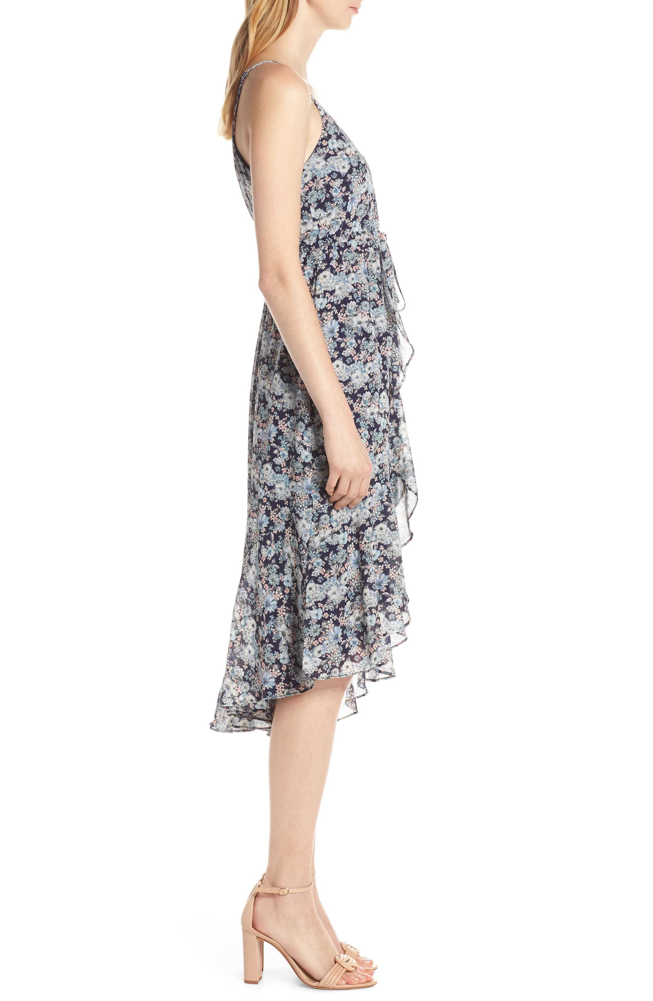 19 COOPER, Asymmetrical Ruffle Hem Dress, Alternate thumbnail 4, color, 410