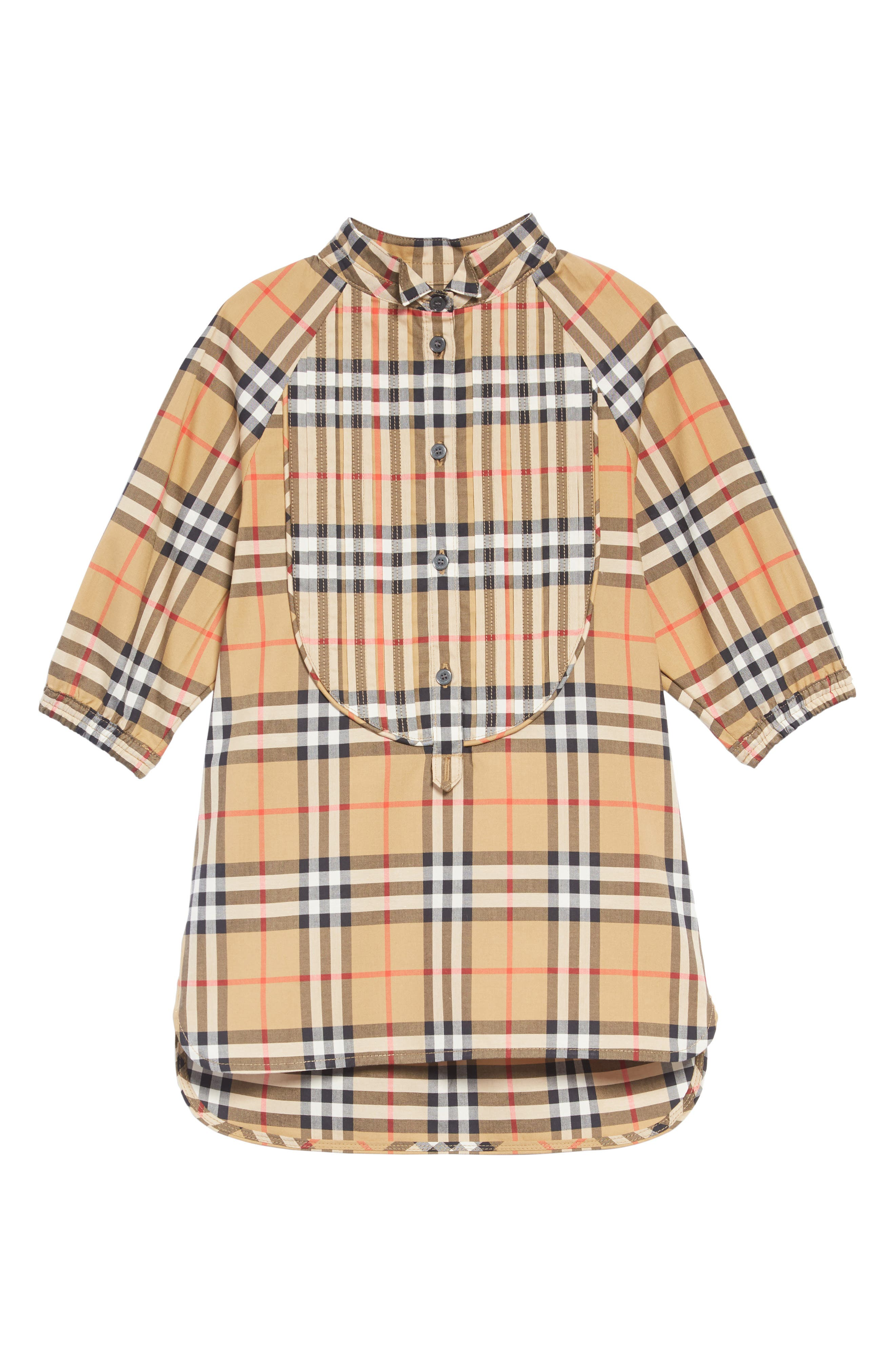 BURBERRY Elodie Vintage Check Shirtdress, Main, color, ANTIQUE YELLOW