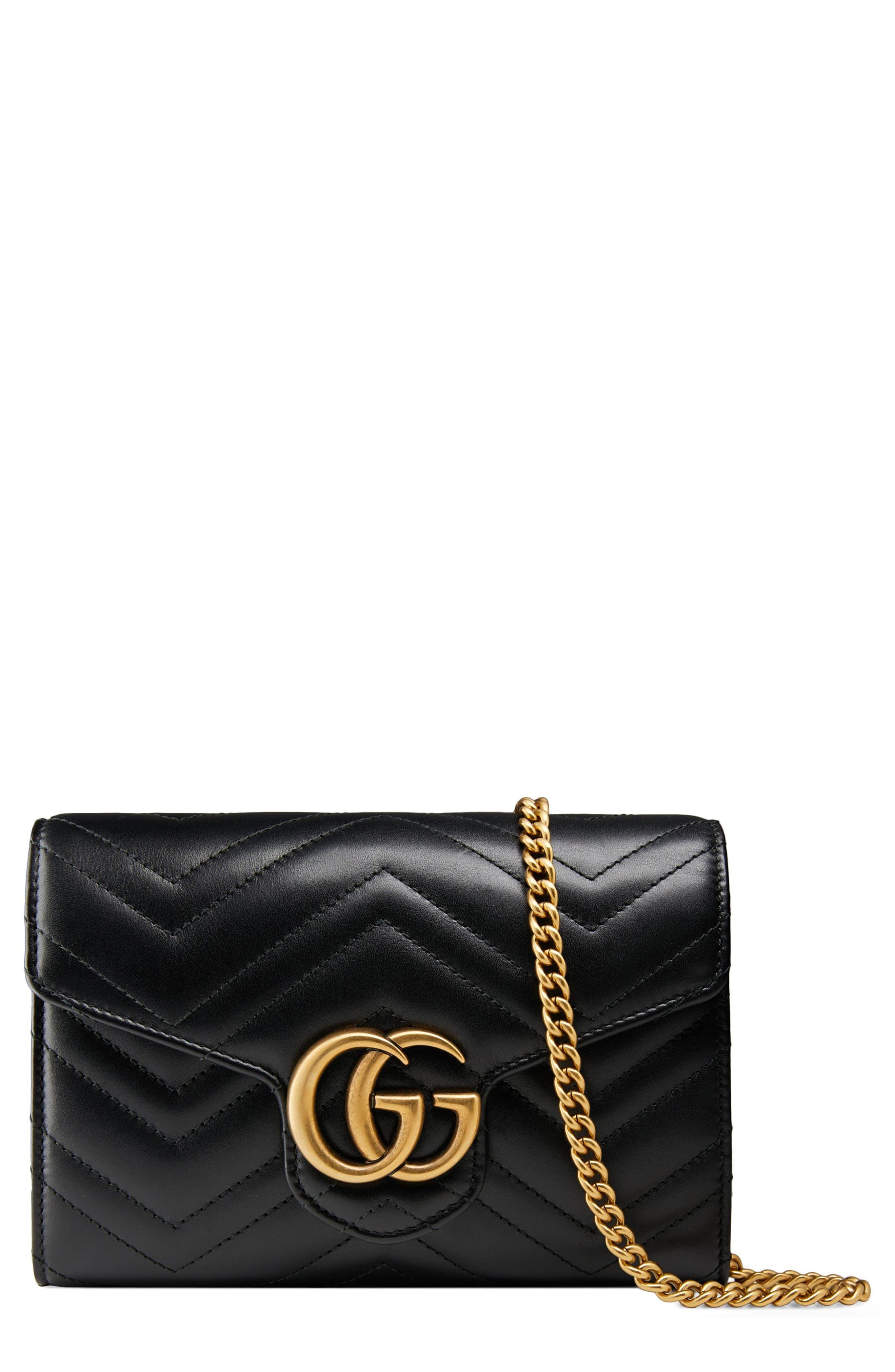 GUCCI, GG Marmont Matelassé Leather Wallet on a Chain, Main thumbnail 1, color, NERO