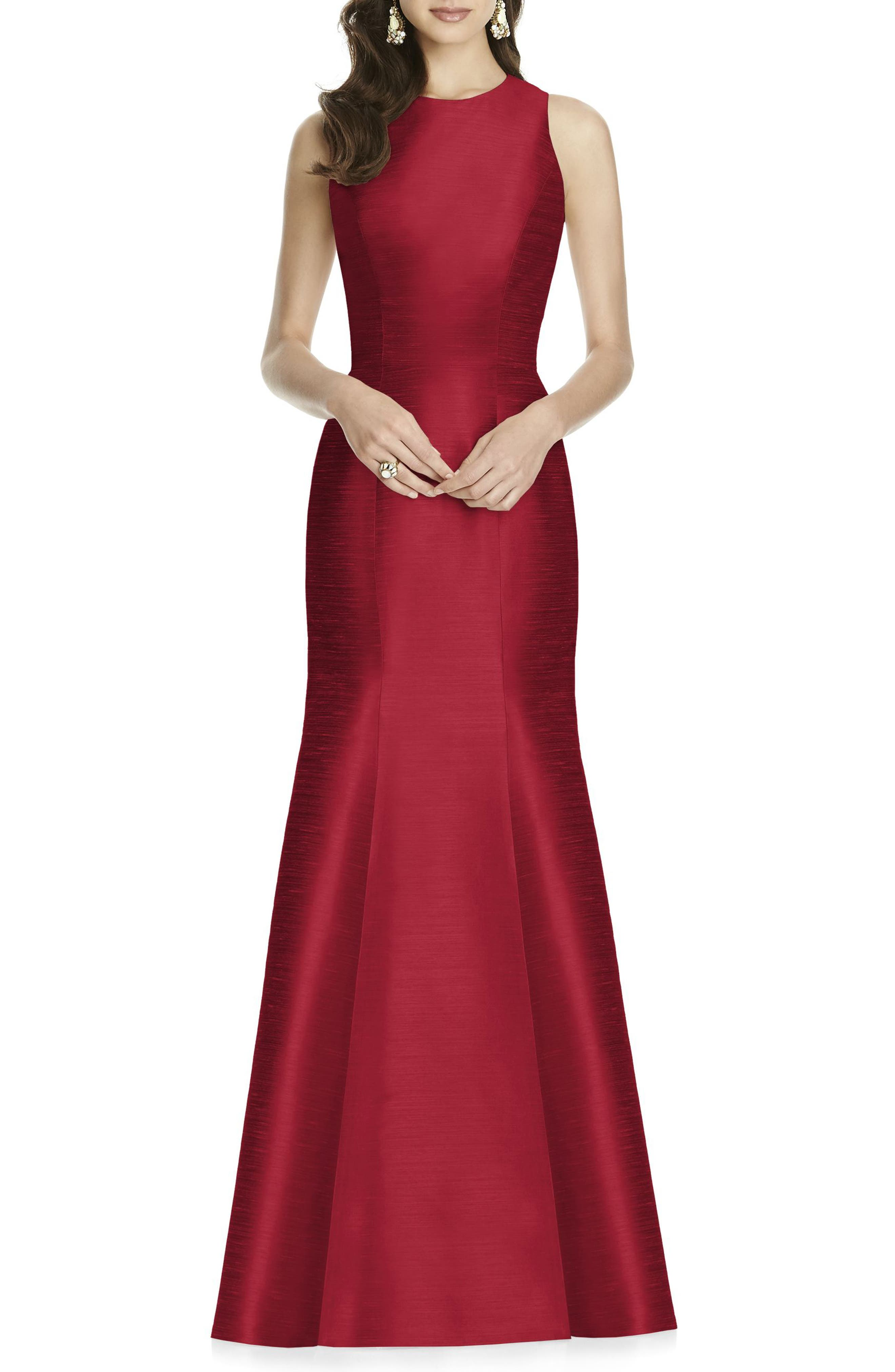 ALFRED SUNG Dupioni Trumpet Gown, Main, color, BARCELONA