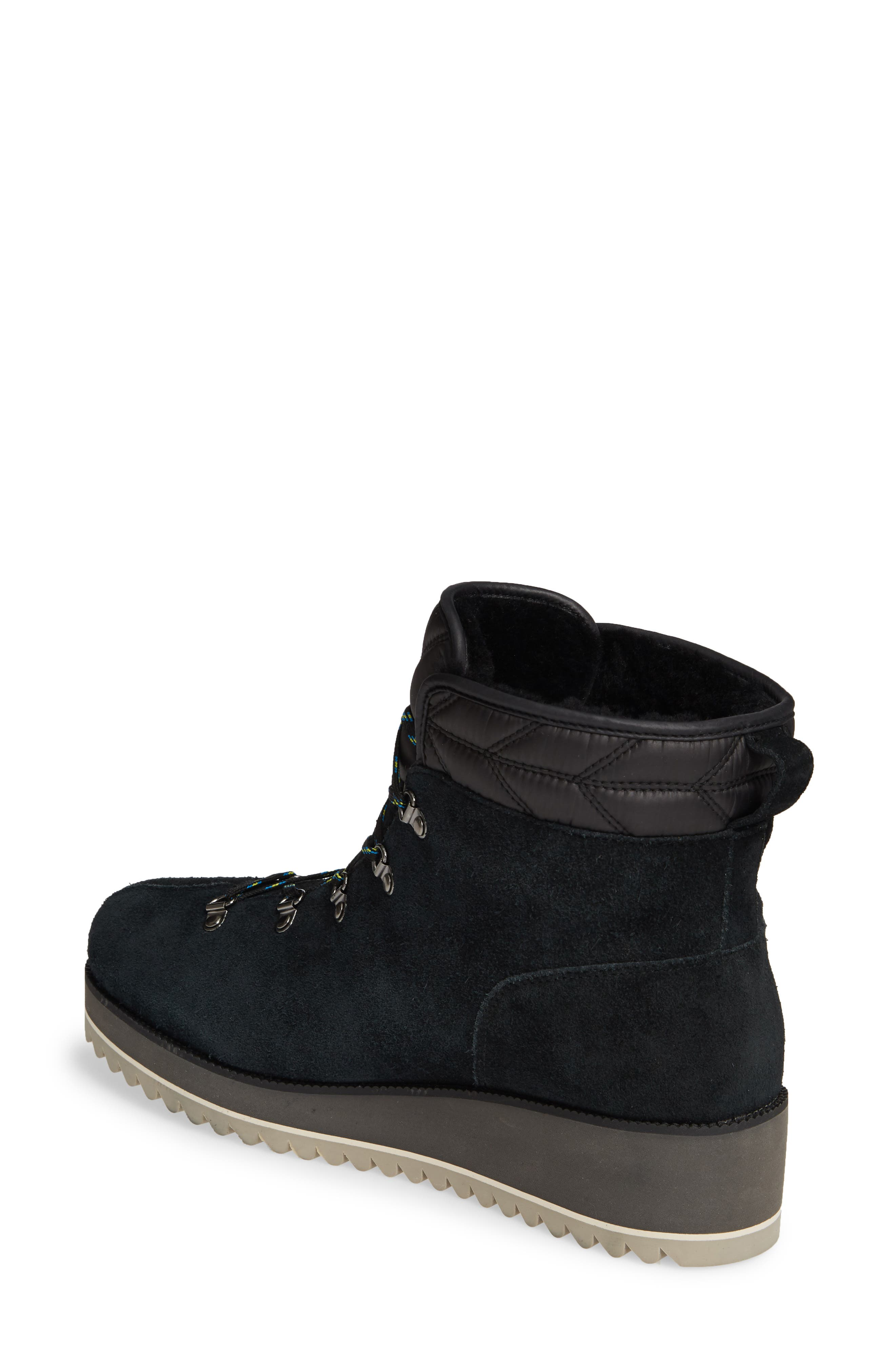 UGG<SUP>®</SUP>, Birch Waterproof Lace-Up Winter Bootie, Alternate thumbnail 2, color, BLACK