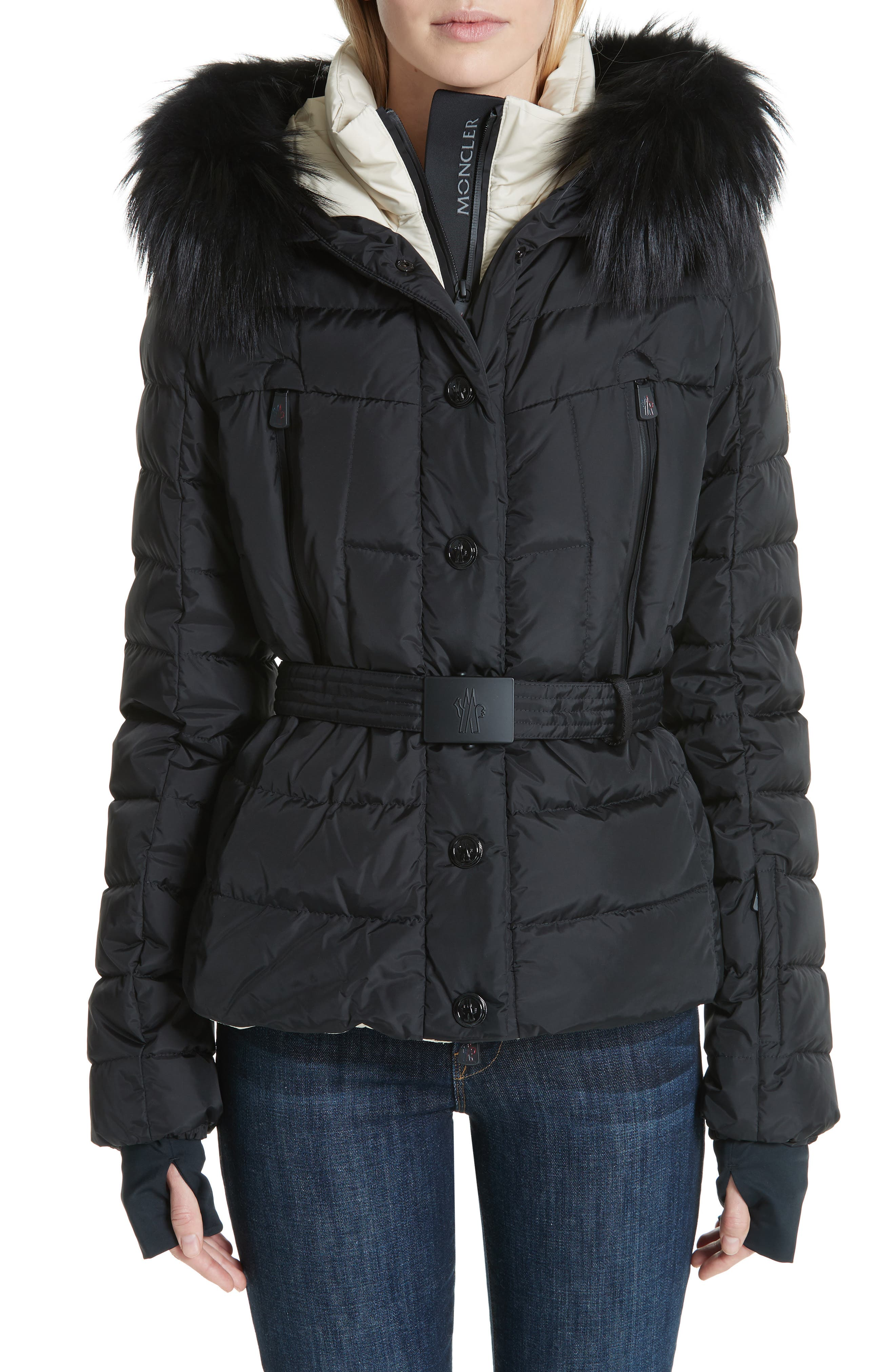MONCLER Beverley Genuine Fox Fur Trim Quilted Down Coat, Main, color, 001