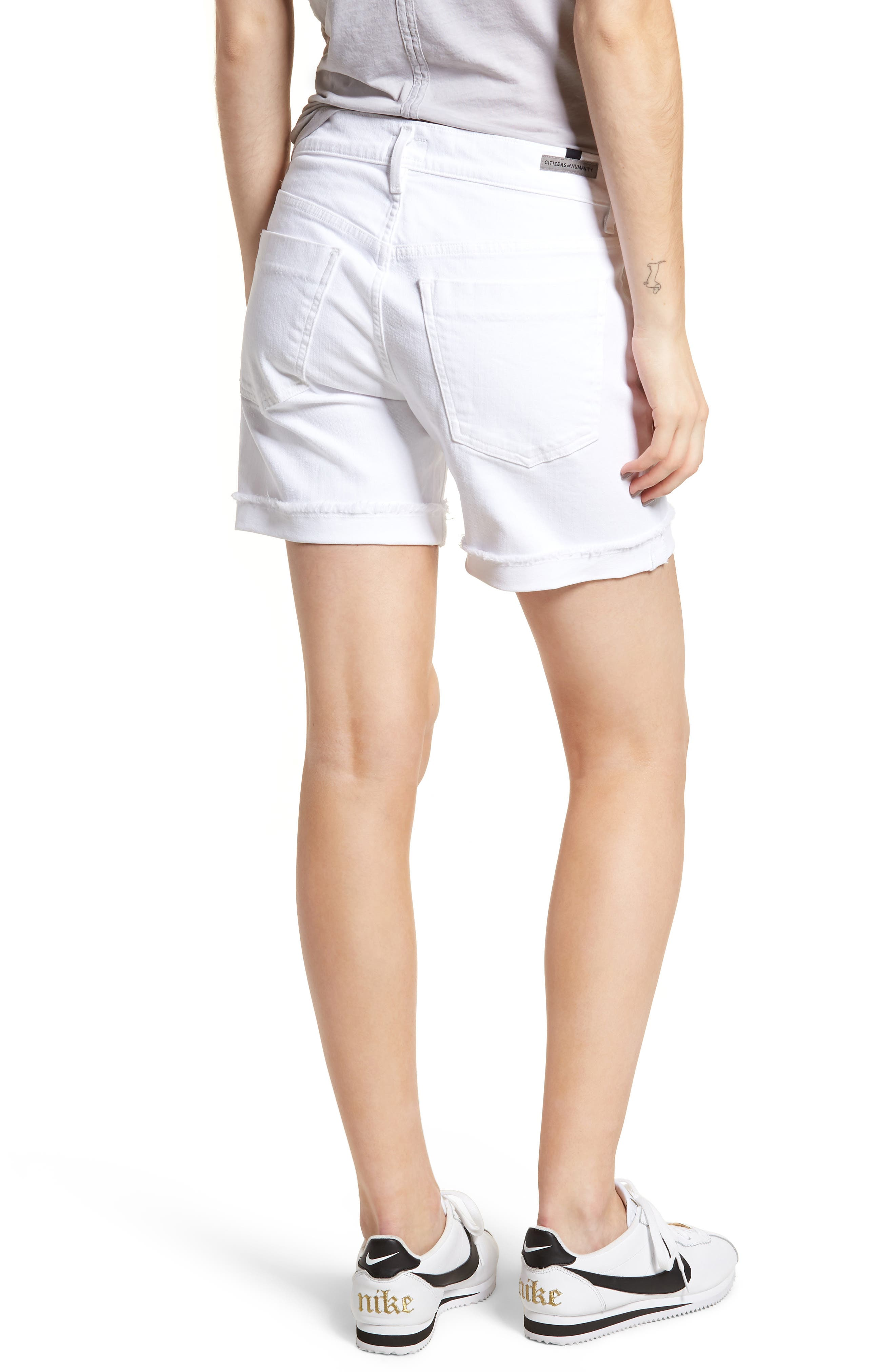CITIZENS OF HUMANITY, Skyler Denim Shorts, Alternate thumbnail 2, color, OPTIC WHITE