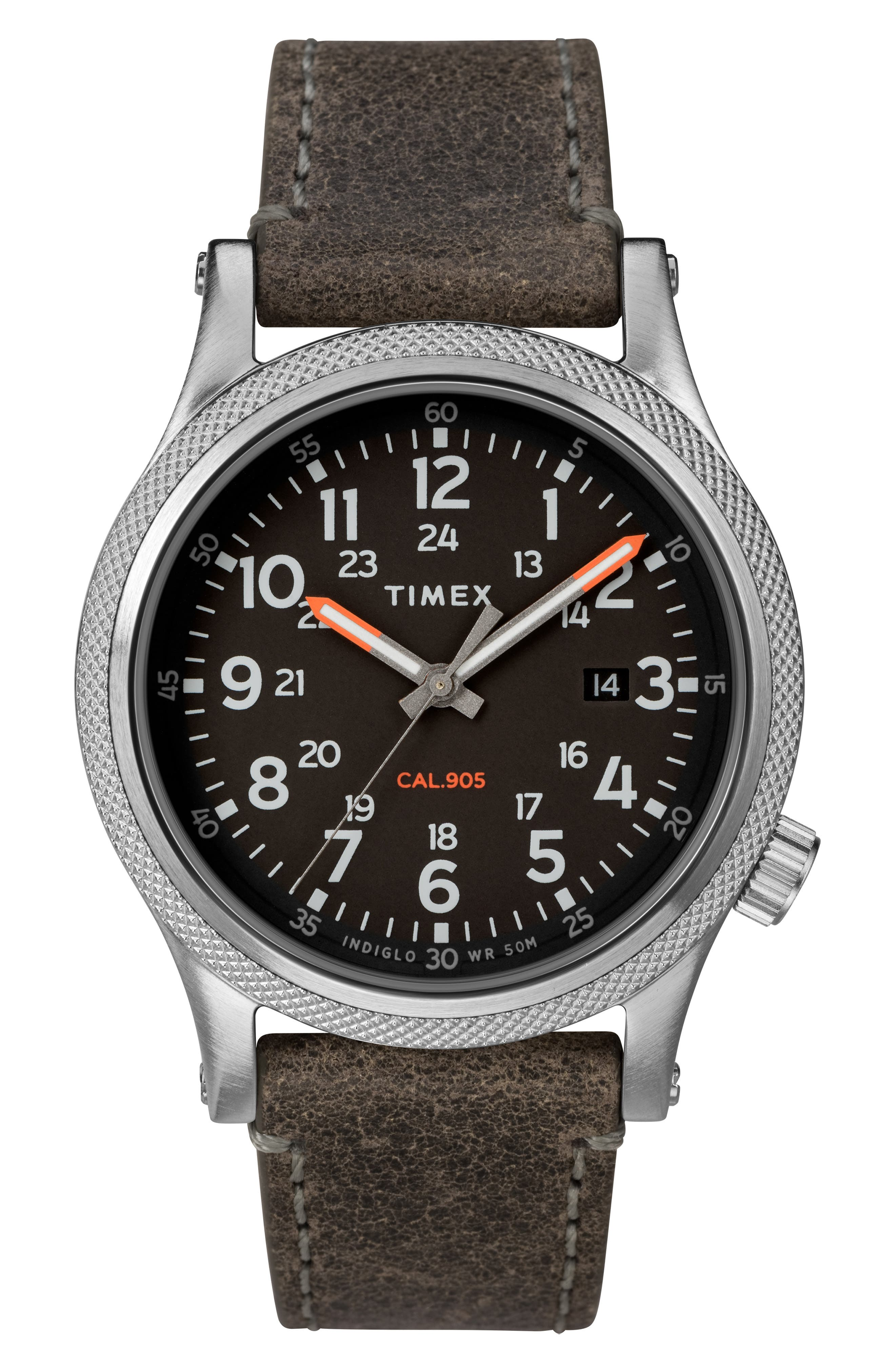 TIMEX<SUP>®</SUP>, Allied Leather Strap Watch, 40mm, Main thumbnail 1, color, GREY/ BLACK/ SILVER