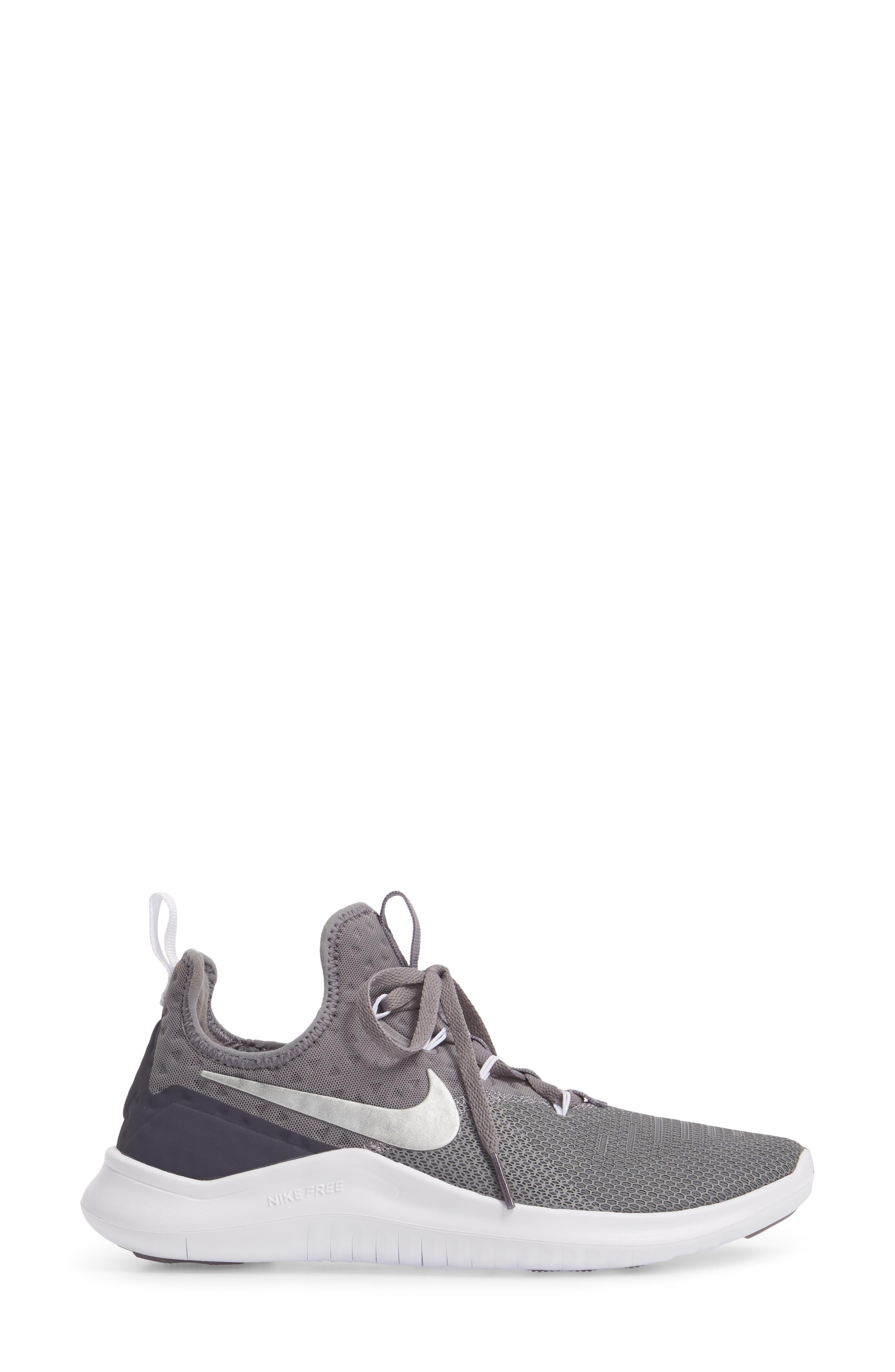 NIKE, Free TR8 Training Shoe, Alternate thumbnail 3, color, GUNSMOKE/ METALLIC SILVER