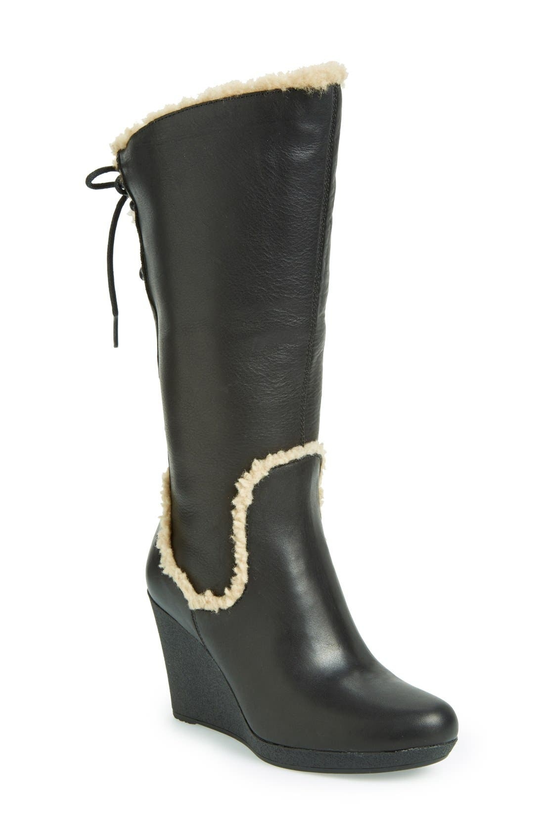 UGG<SUP>®</SUP> Australia 'Emilie' Wedge Boot, Main, color, 001