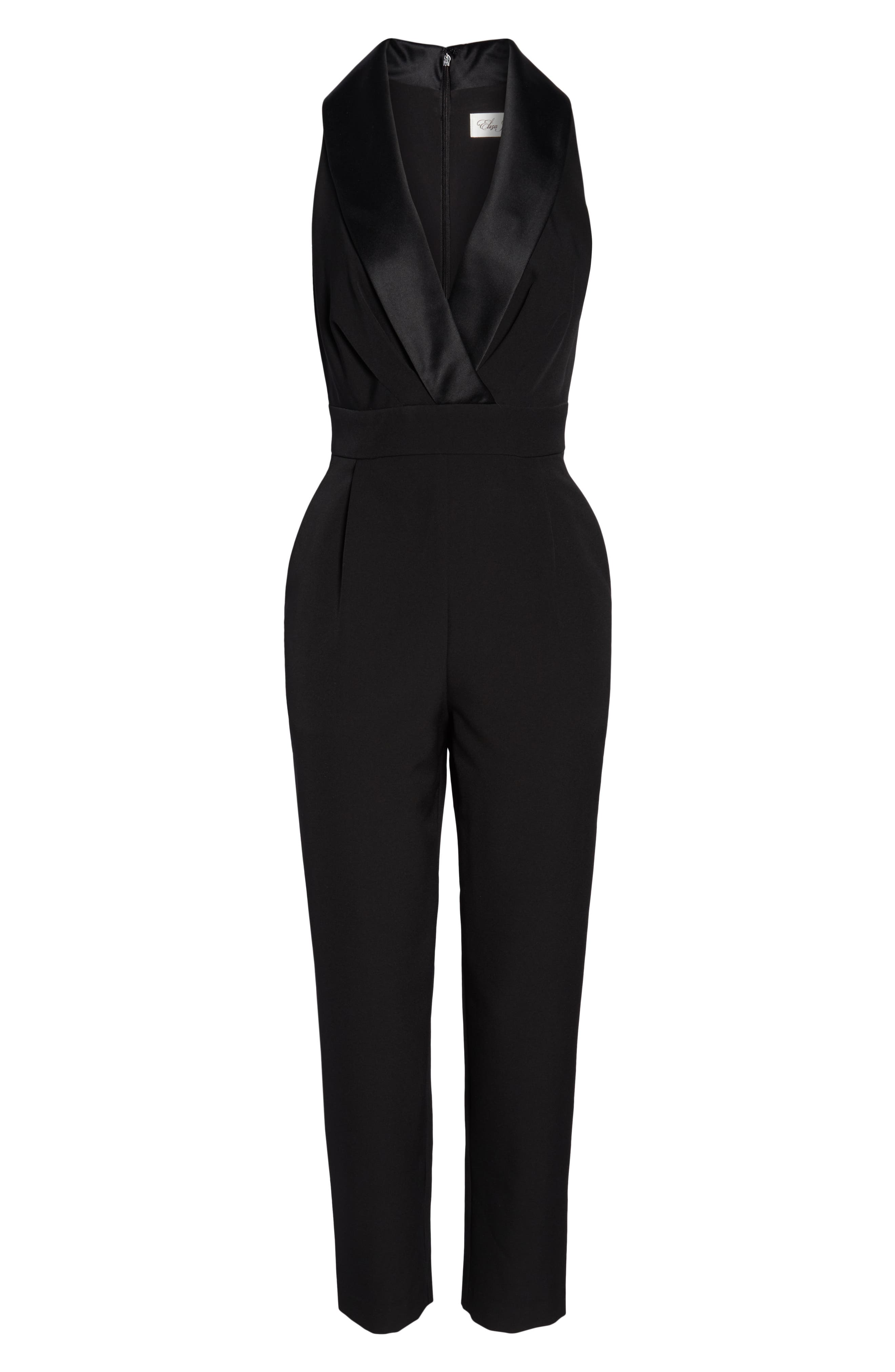 ELIZA J, Tuxedo Jumpsuit, Alternate thumbnail 7, color, BLACK