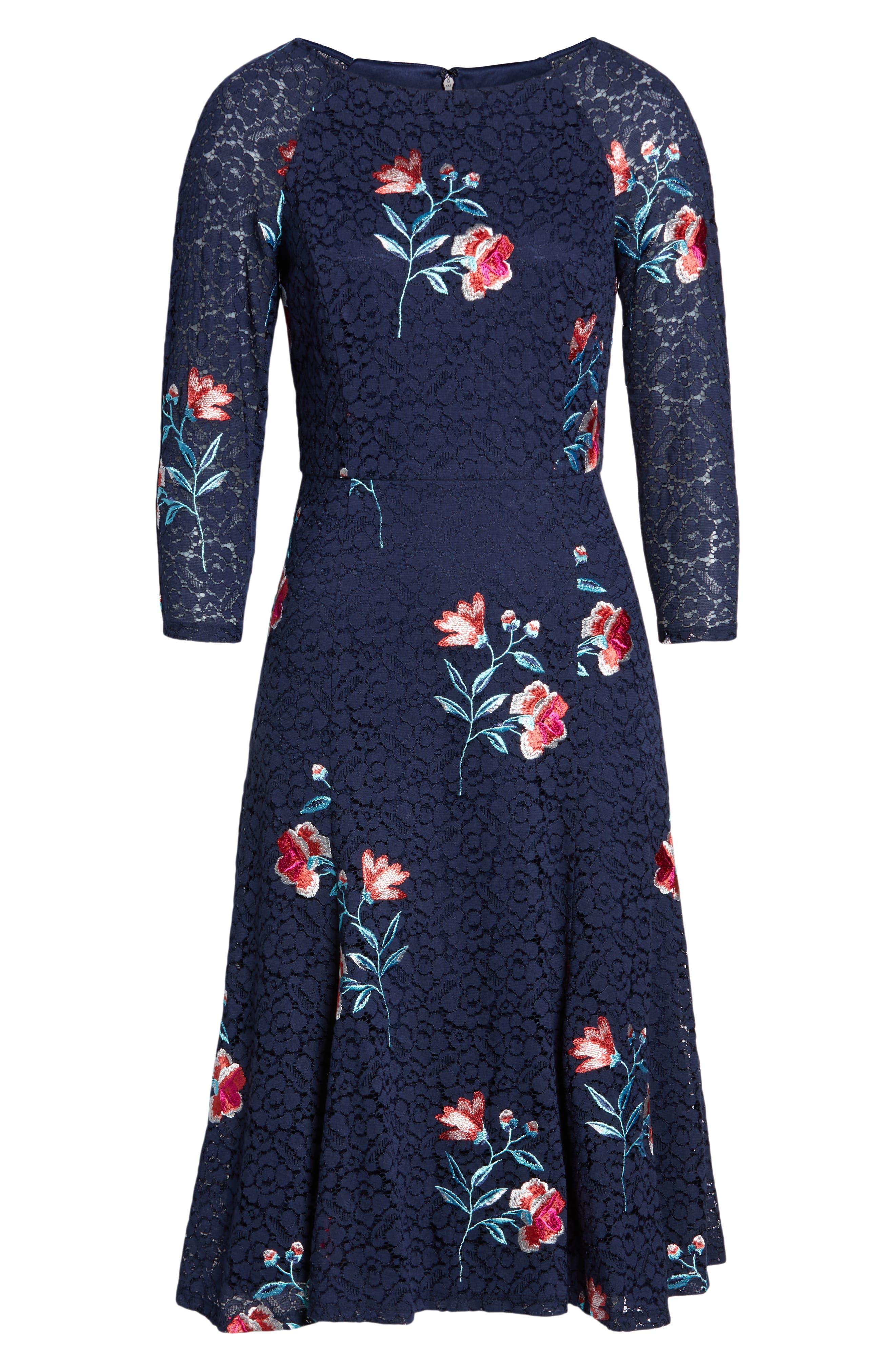 ELIZA J, Embroidery & Lace A-Line Dress, Alternate thumbnail 7, color, NAVY