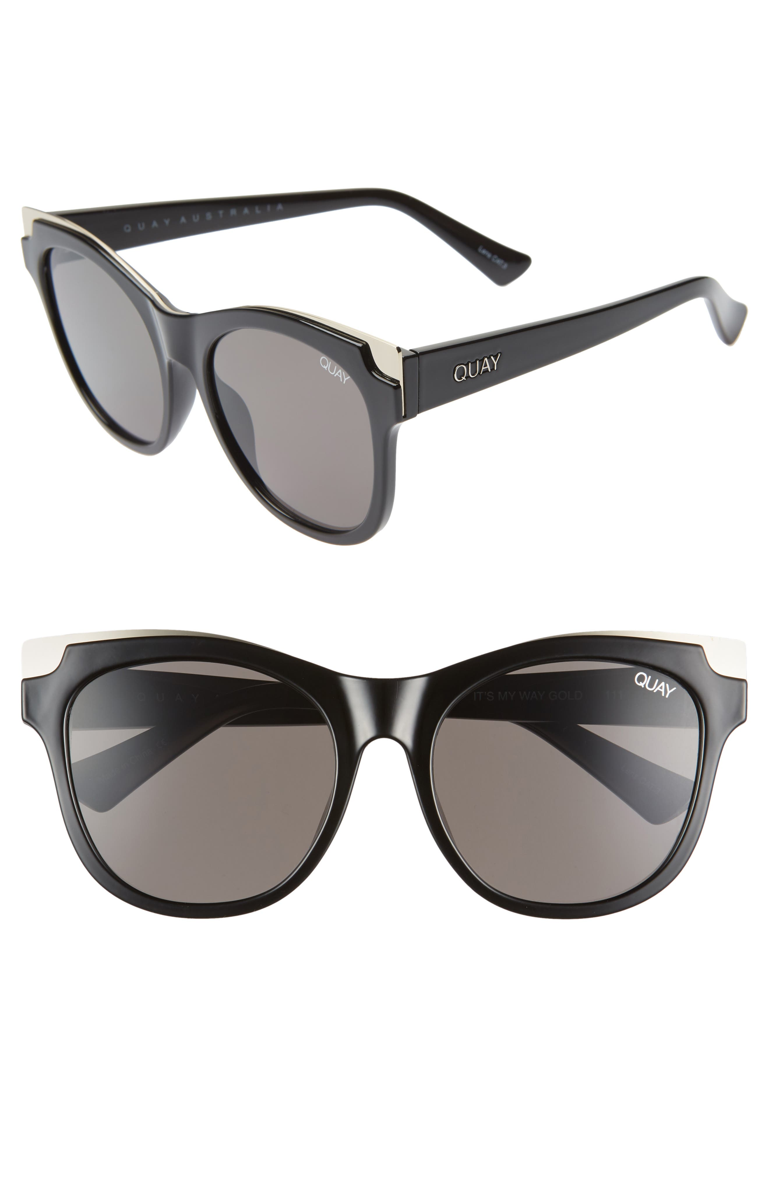 ef66fc5845ea7 Quay Australia It S My Way 5m Cat Eye Sunglasses - Black Gold  Smoke