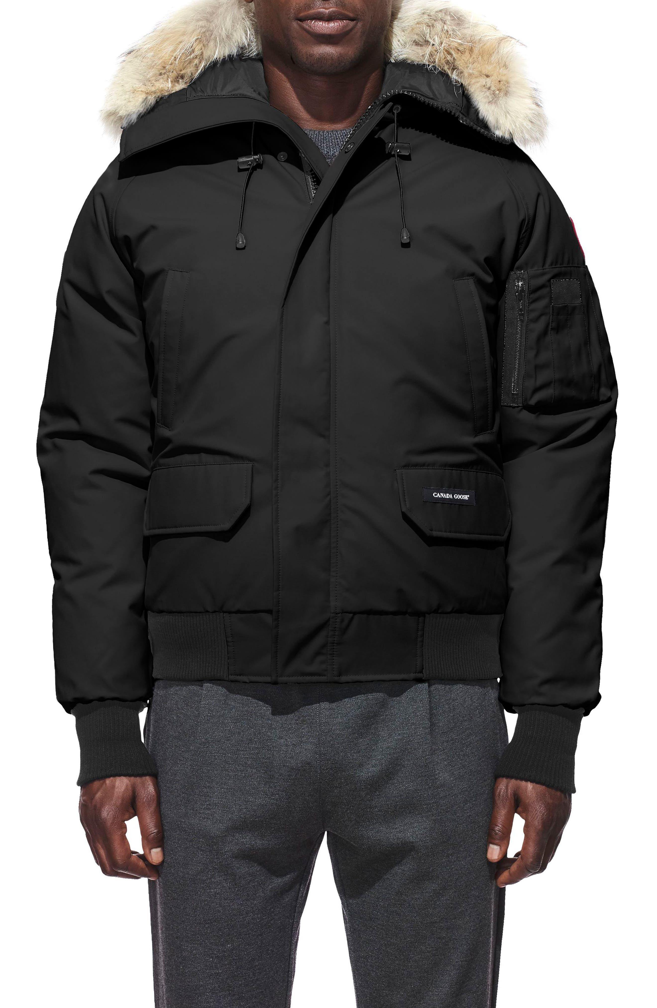 CANADA GOOSE PBI Chilliwack Regular Fit Down Bomber Jacket with Genuine Coyote Trim, Main, color, BLACK