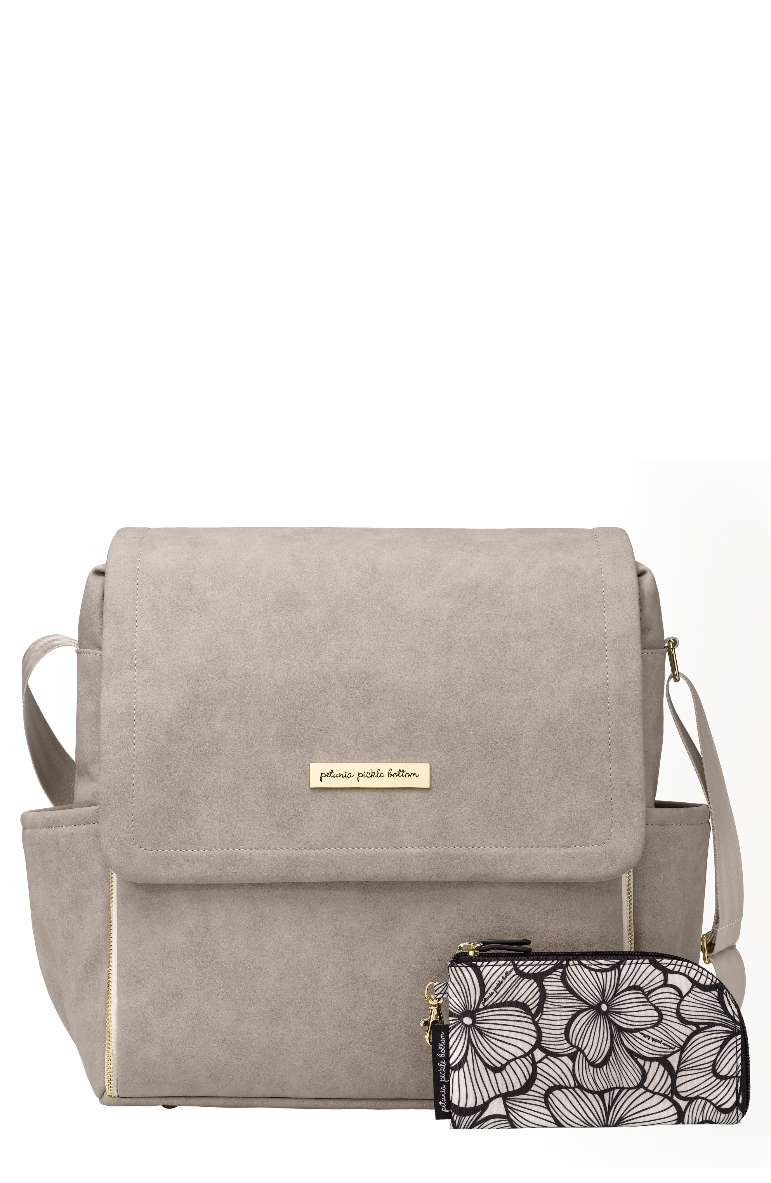 PETUNIA PICKLE BOTTOM, Boxy Backpack Diaper Bag, Main thumbnail 1, color, GREY MATTE LEATHERETTE